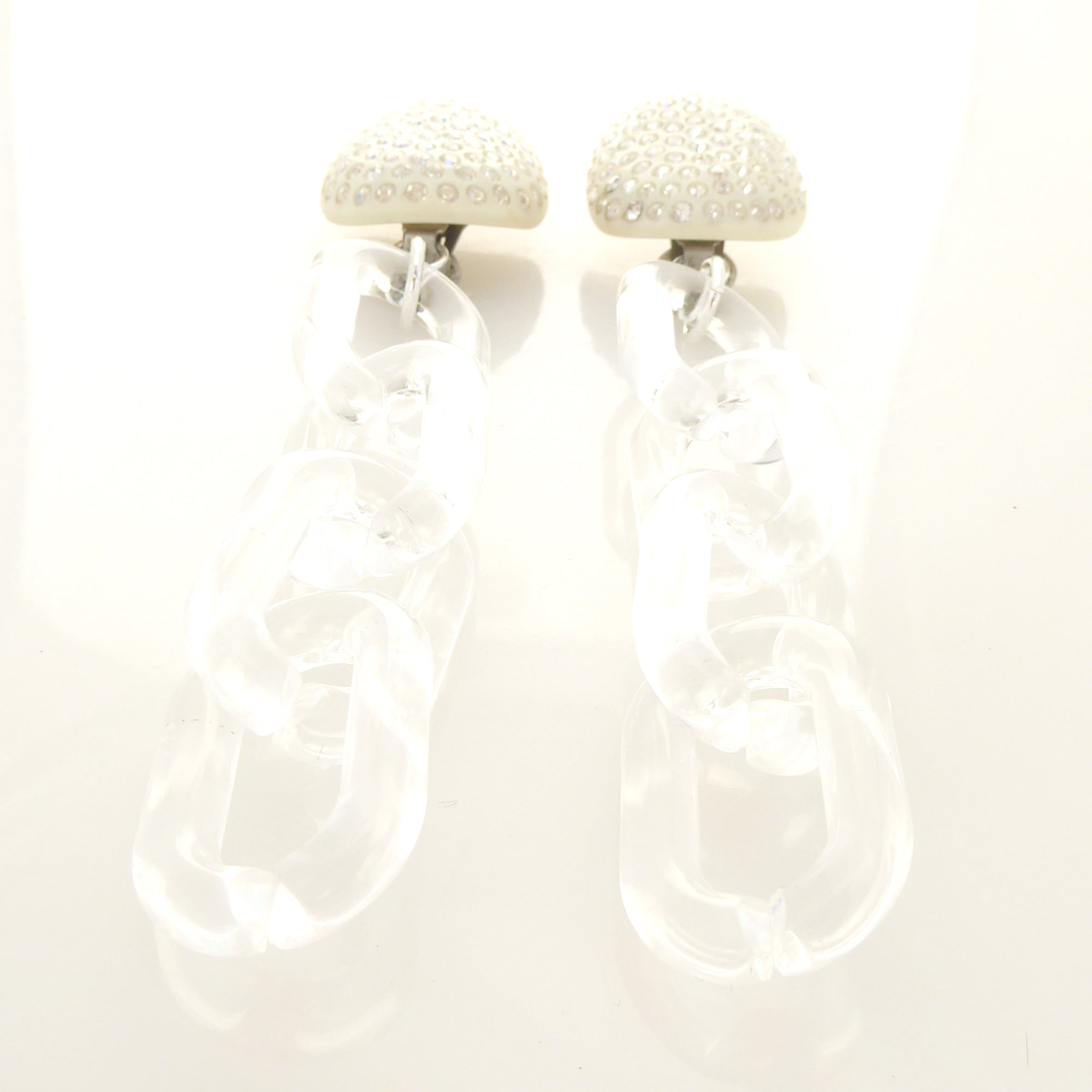 Cream celluloid rhinestone earrings