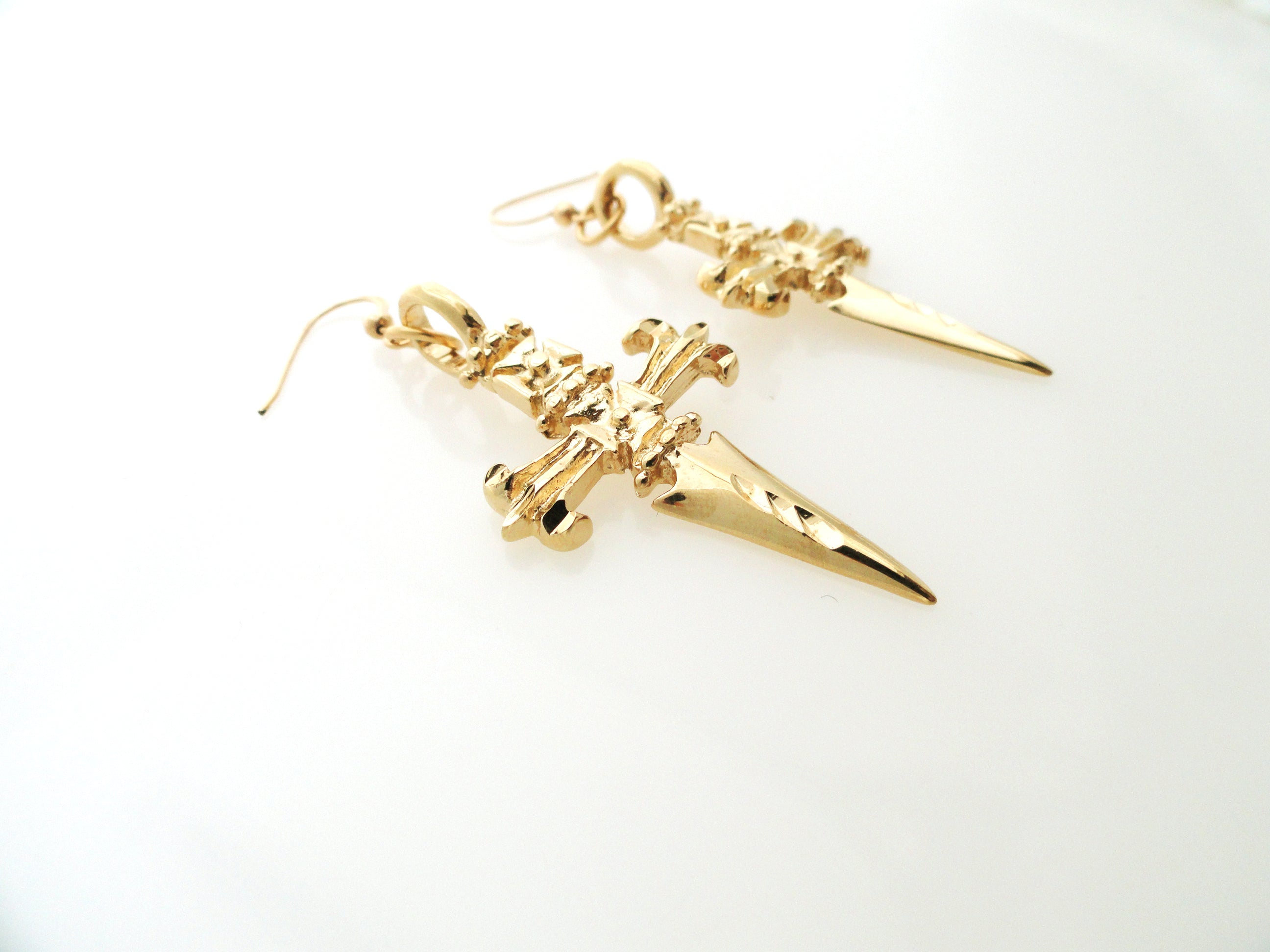 24kt Gold plated dagger earrings