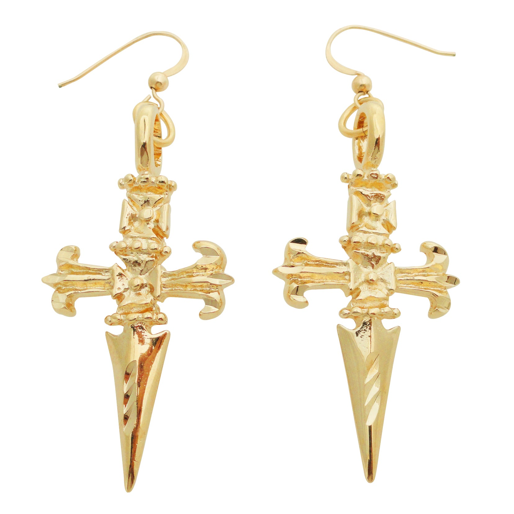 24kt gold plated dagger earrings by Jenny Dayco