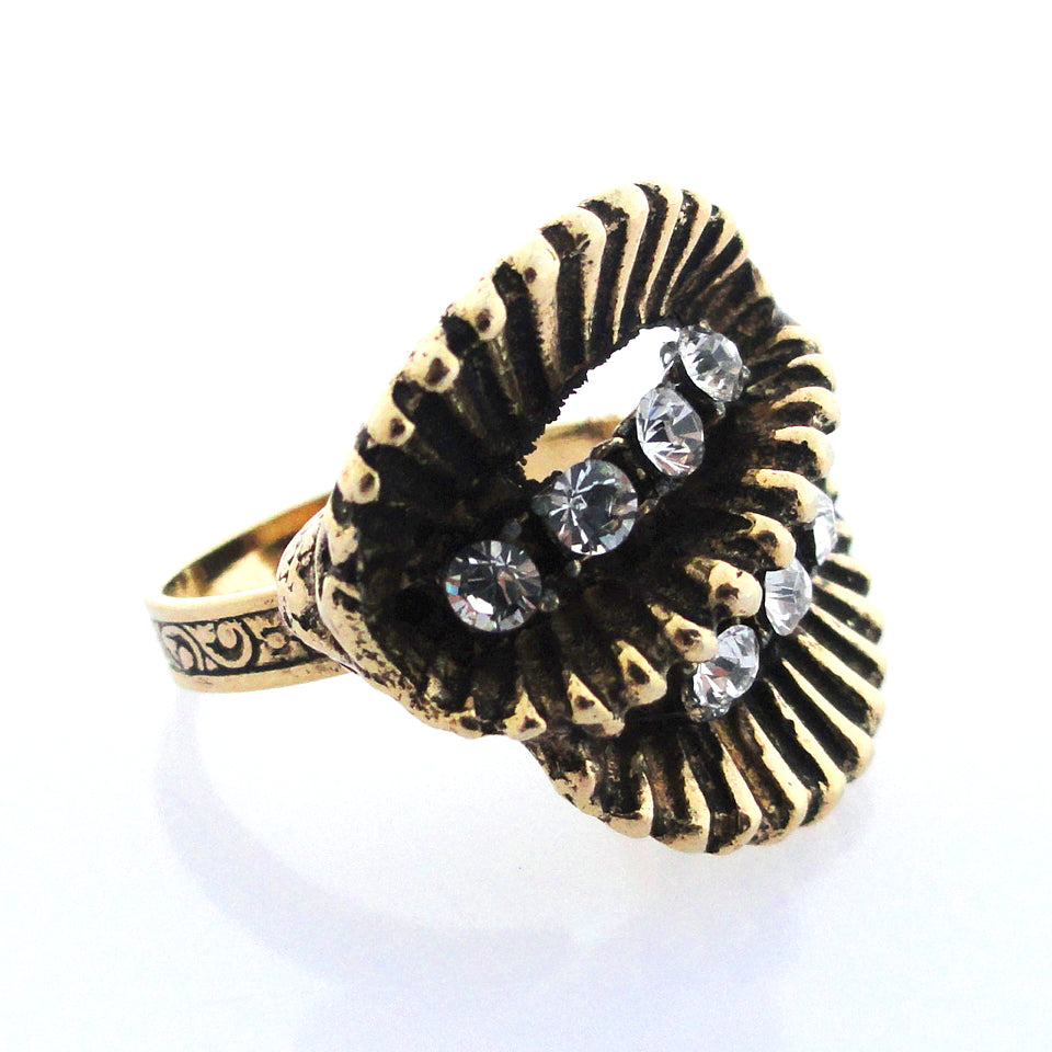 Antique brass wave ring by Jenny Dayco side view
