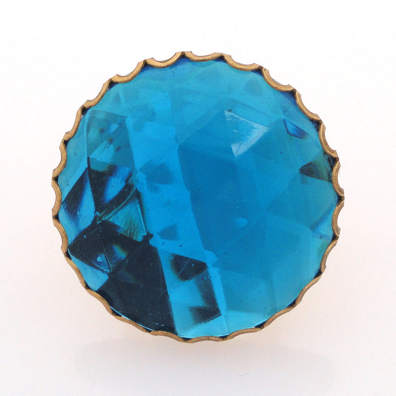 Aqua glass faceted ring by Jenny Dayco top view