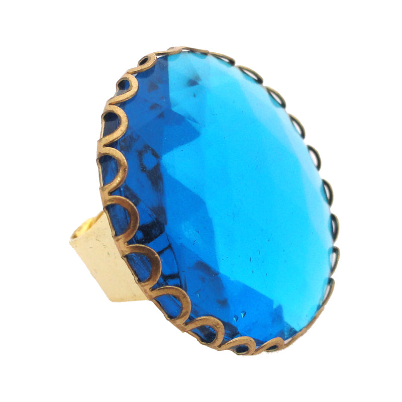 Aqua glass faceted ring by Jenny Dayco