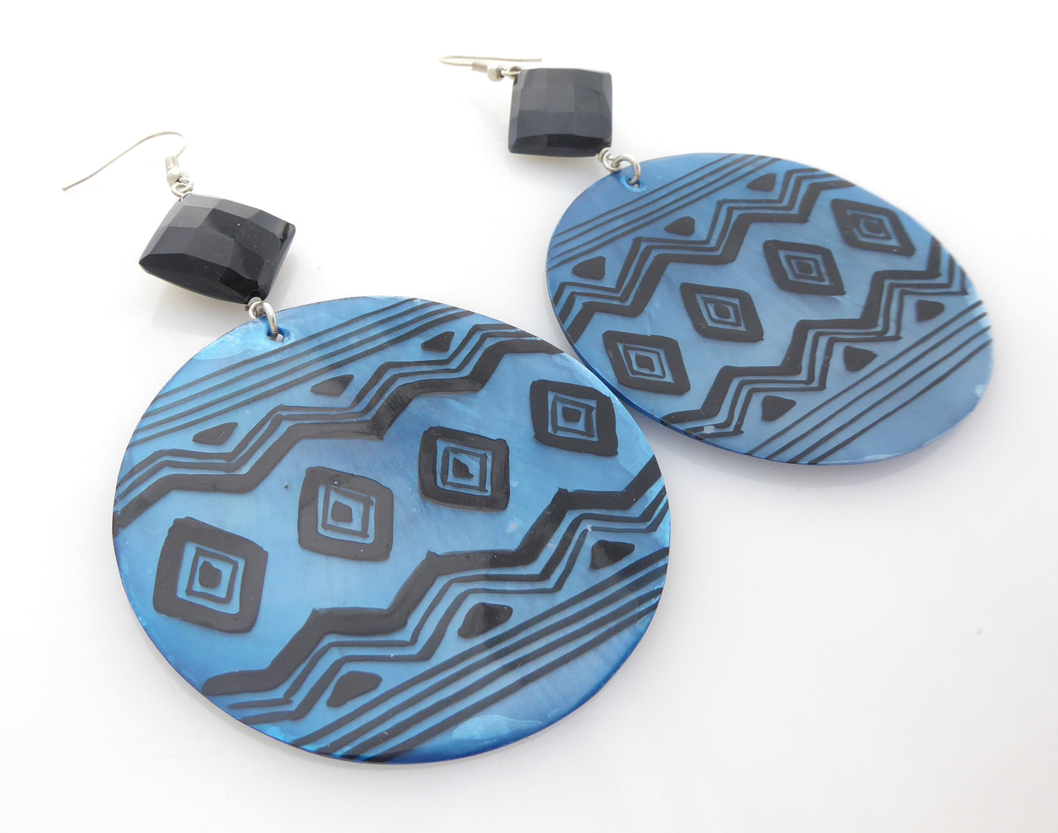 Blue geometric shell and black onyx earrings by Jenny Dayco 2