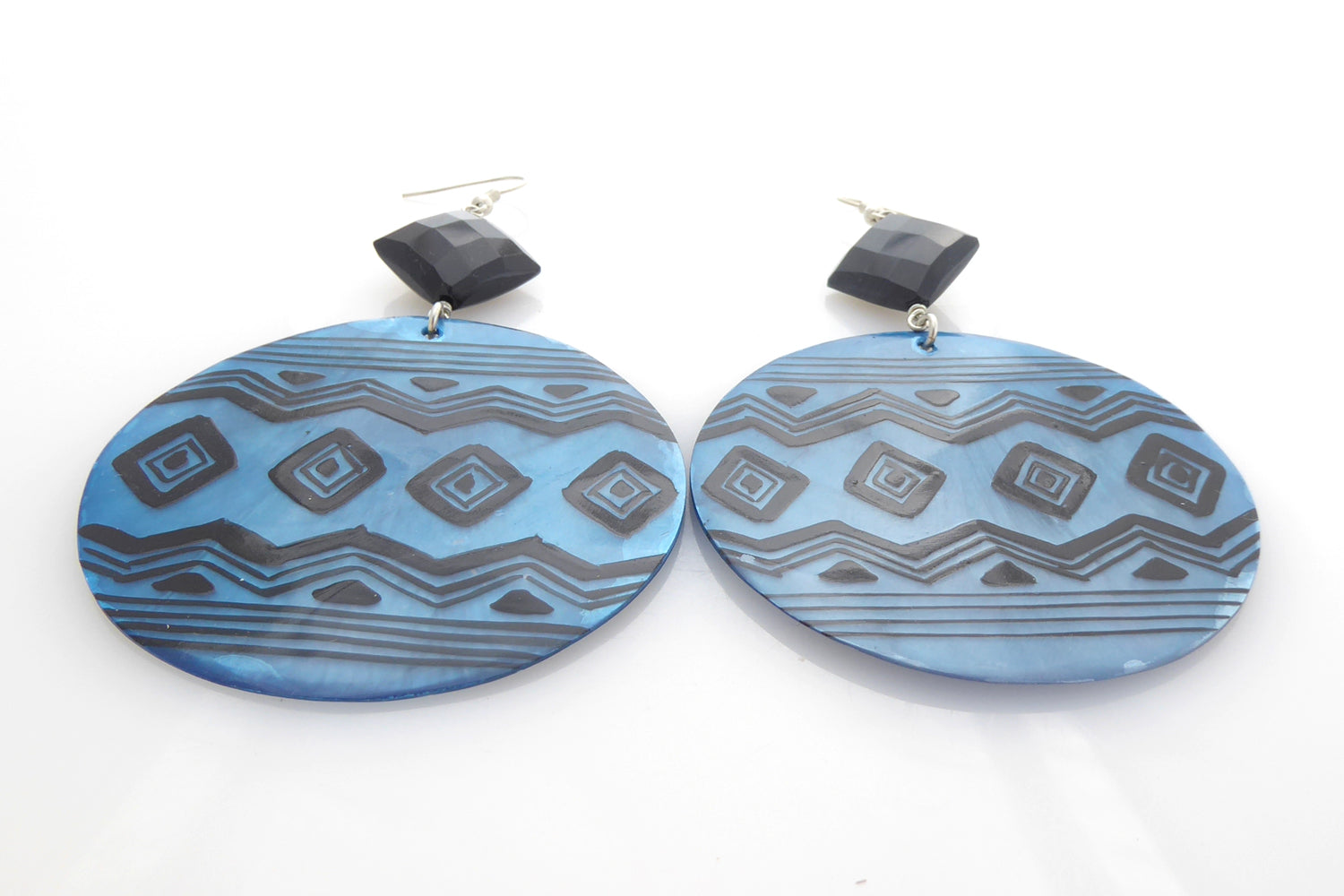 Blue geometric shell and black onyx earrings by Jenny Dayco 3