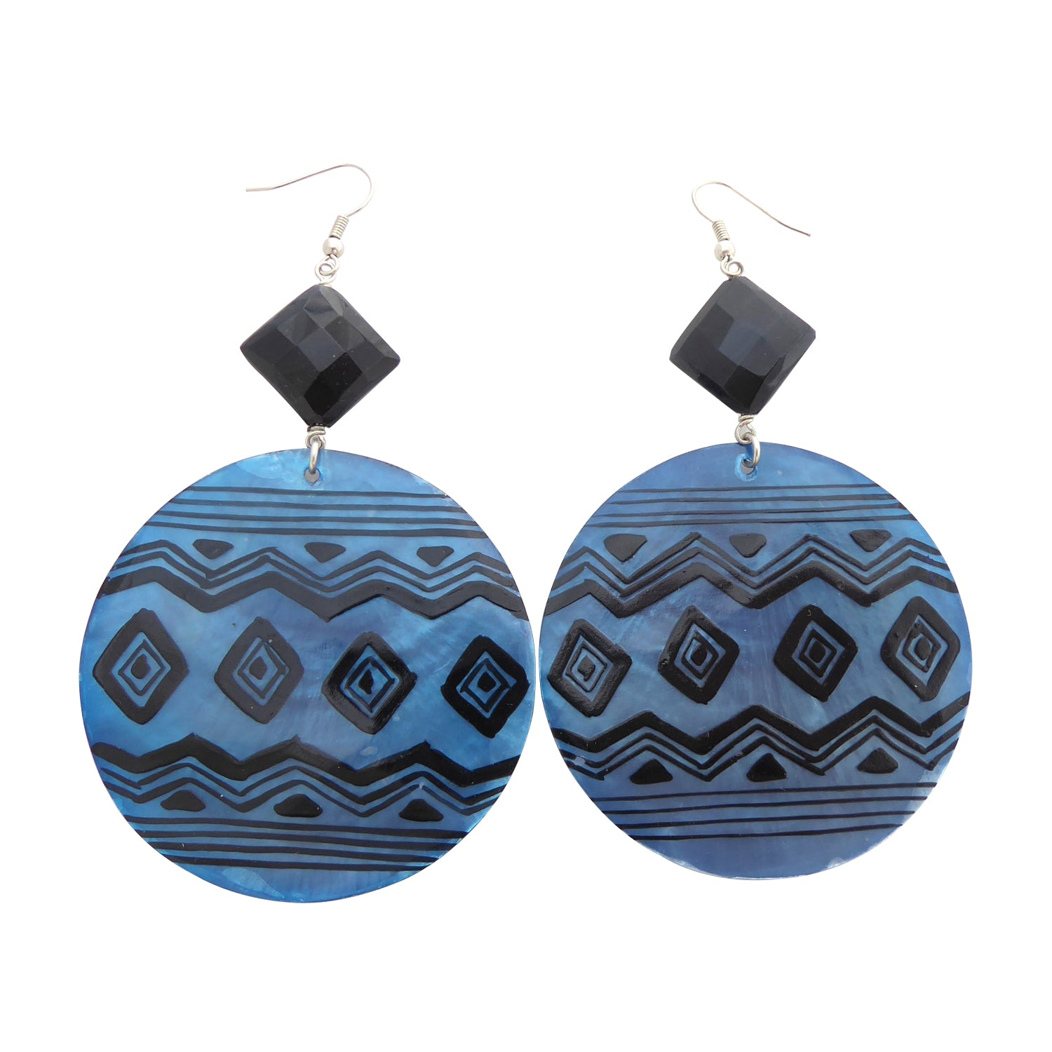 Blue geometric shell earrings