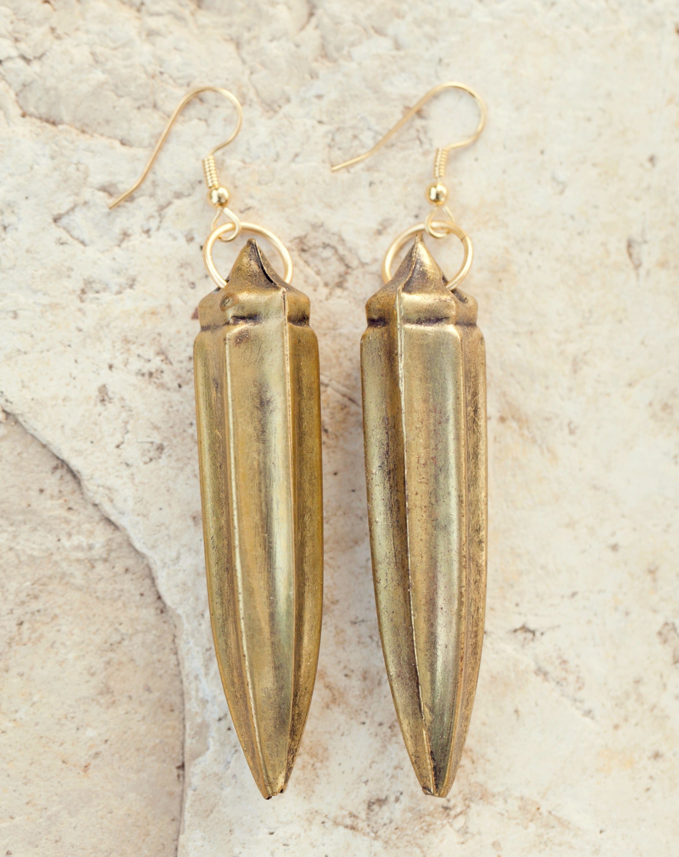 Antique brass okra earrings