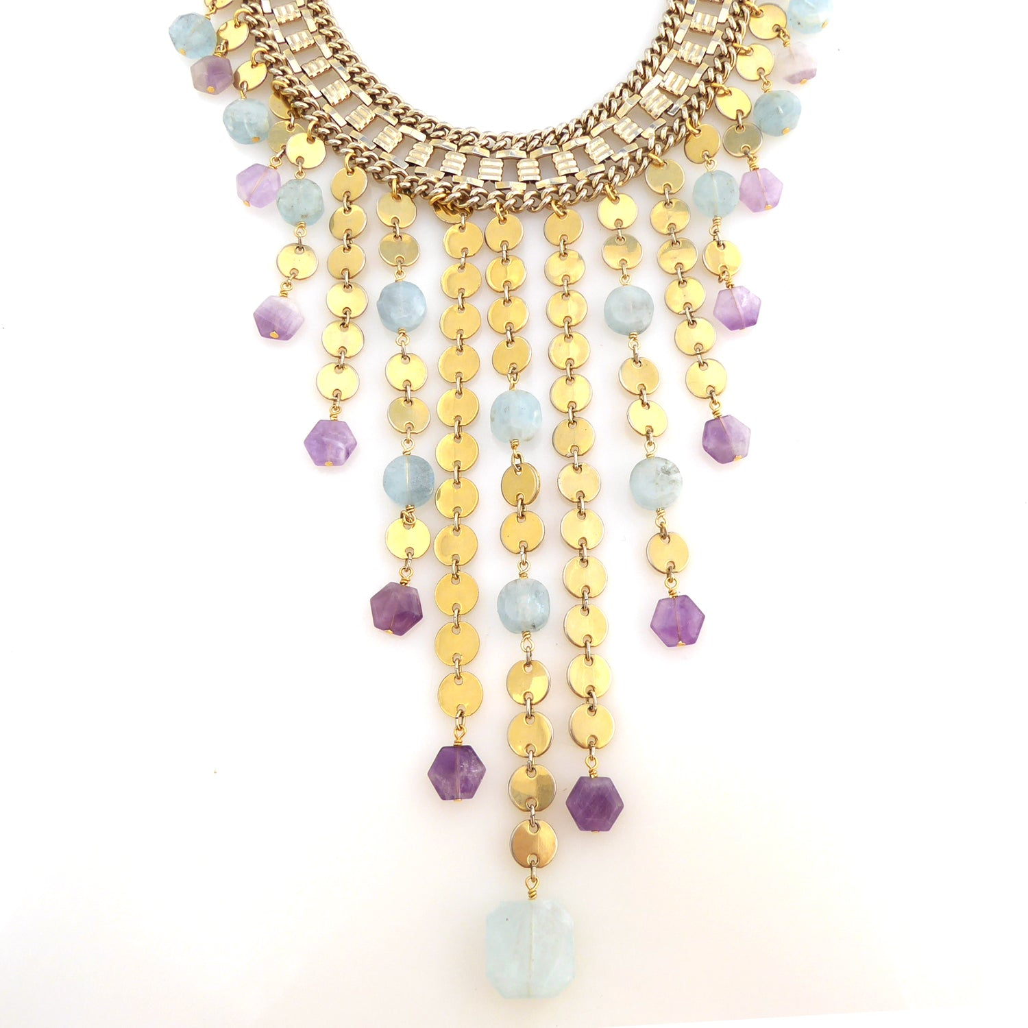 Carmeline aquamarine and amethyst necklace by Jenny Dayco 1