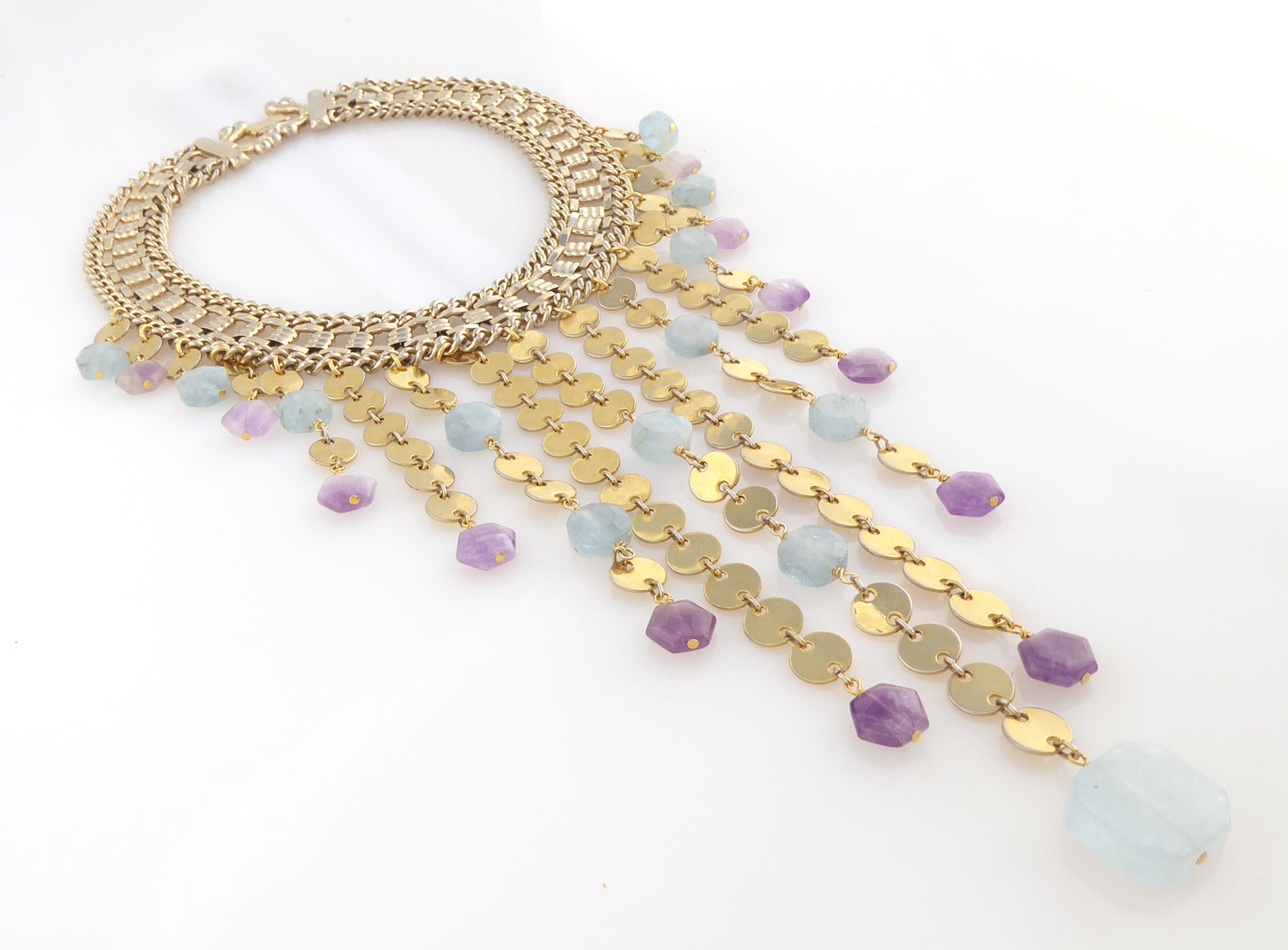 Carmeline aquamarine and amethyst necklace by Jenny Dayco 2