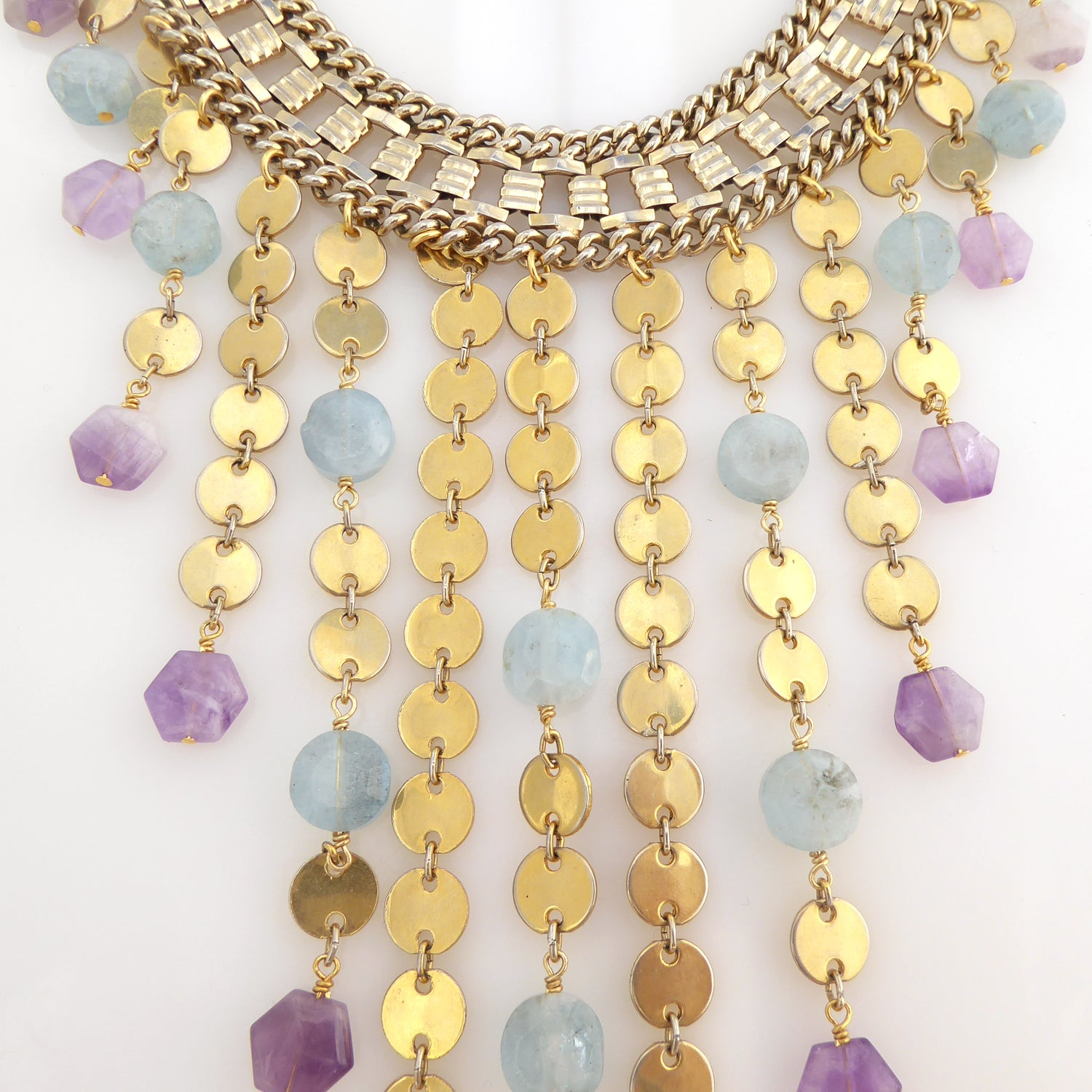 Carmeline aquamarine and amethyst necklace by Jenny Dayco 5