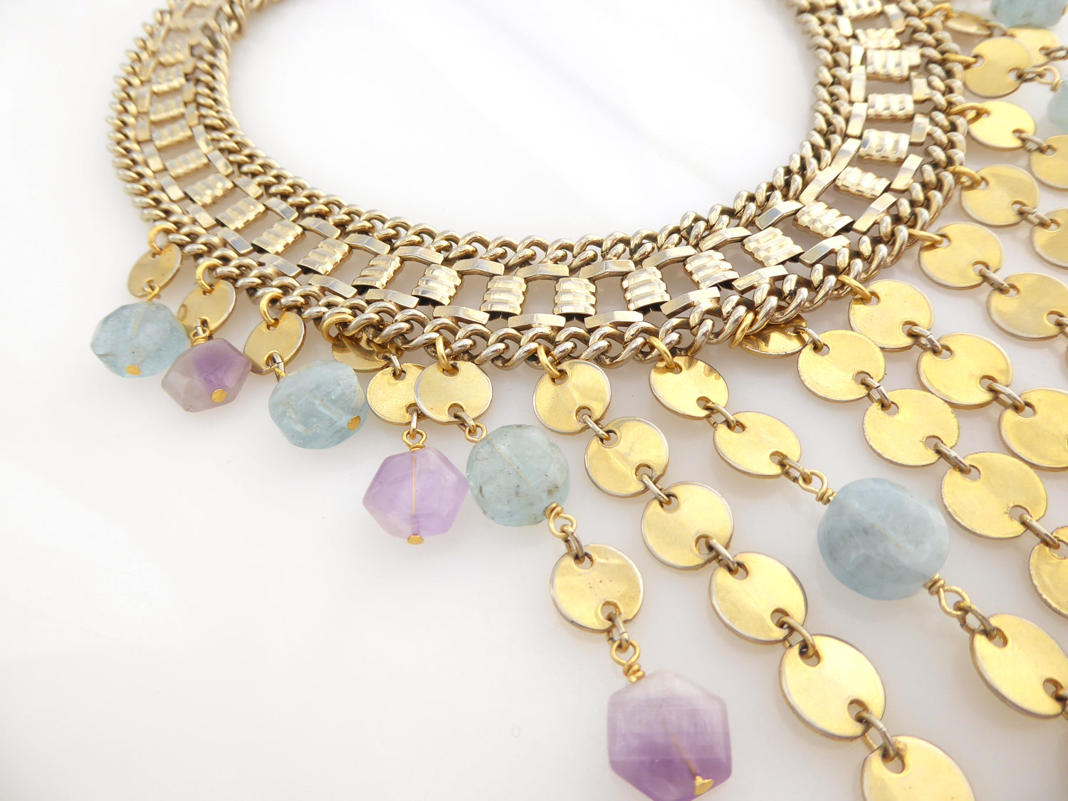 Carmeline aquamarine and amethyst necklace by Jenny Dayco 6