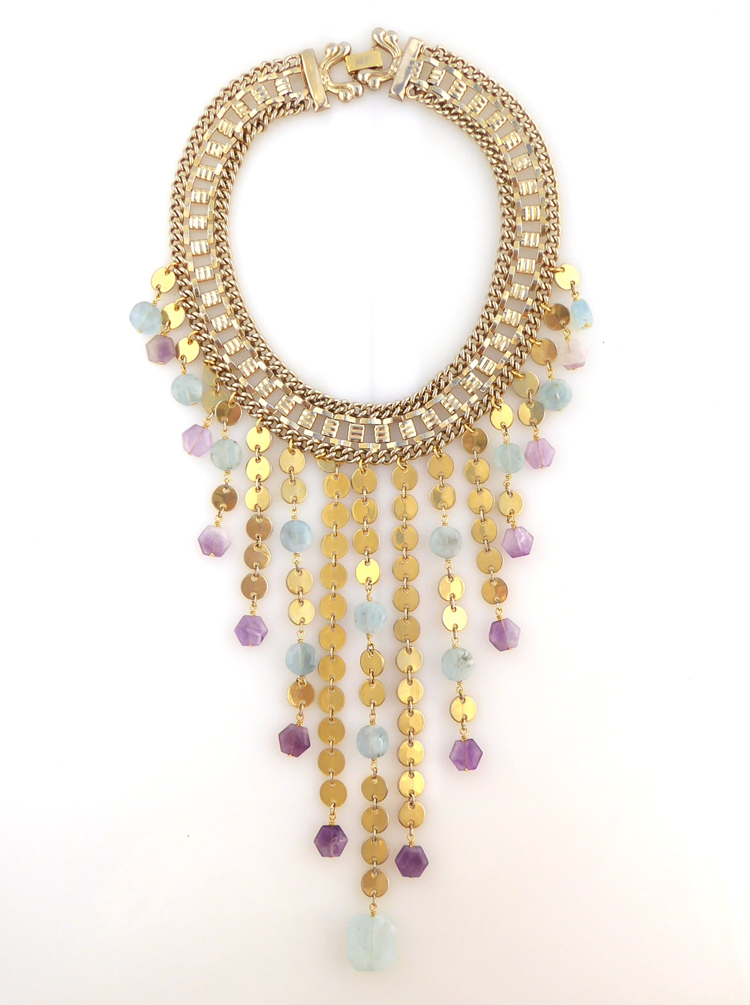 Carmeline aquamarine and amethyst necklace by Jenny Dayco 7
