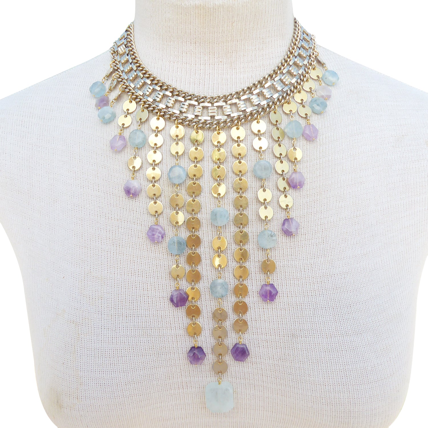 Carmeline aquamarine and amethyst necklace by Jenny Dayco 8