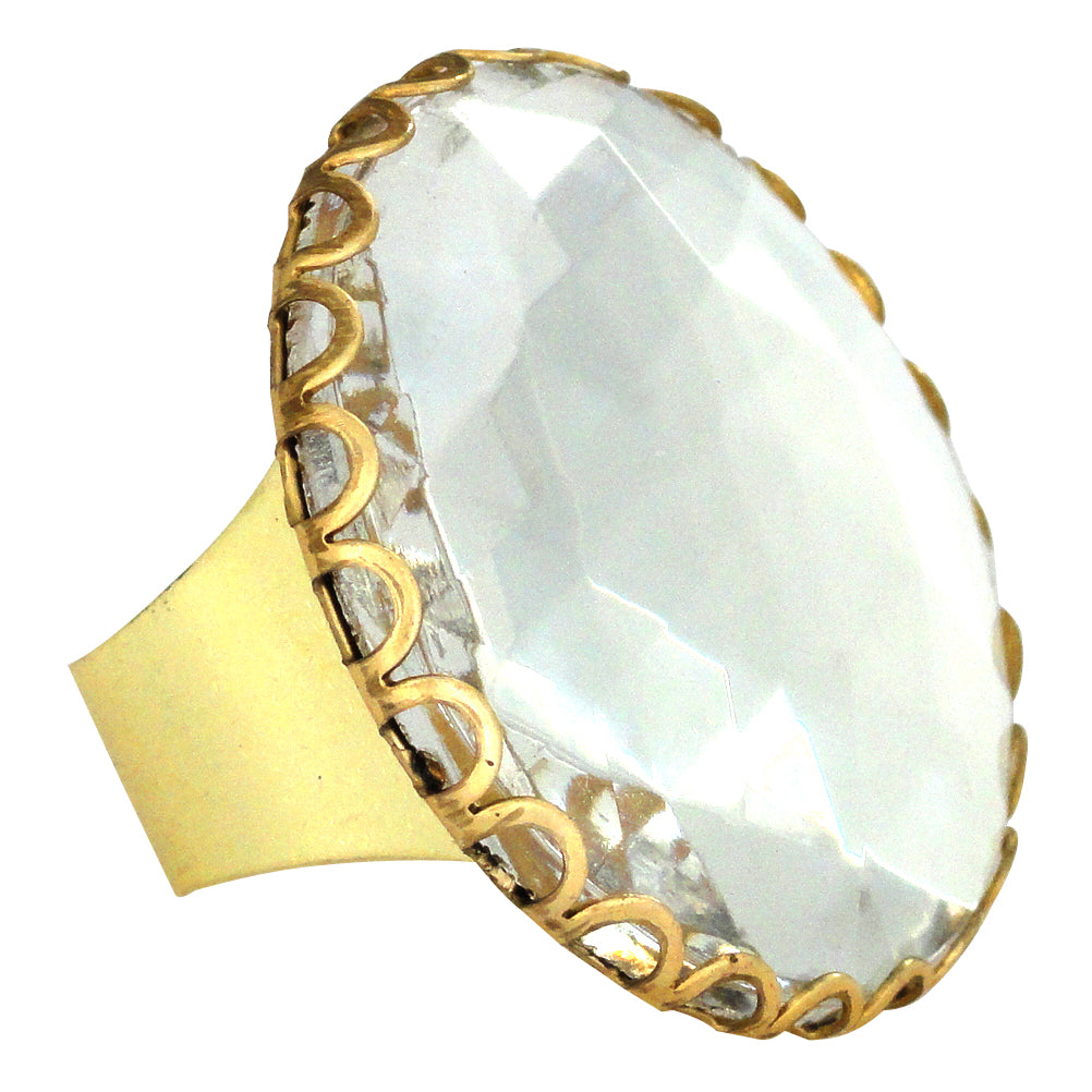 Clear round glass ring by Jenny Dayco
