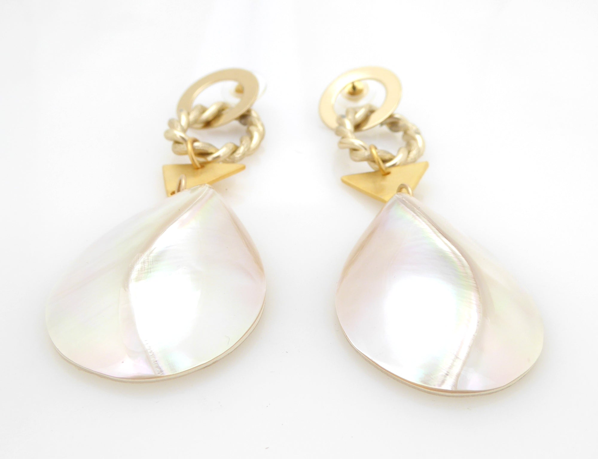 Geometric mother of pearl earrings