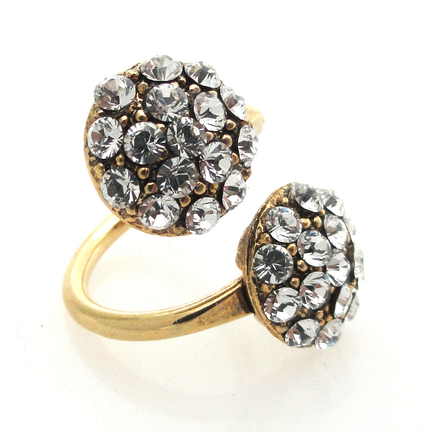 Gold rhinestone circular ring by Jenny Dayco alternate view