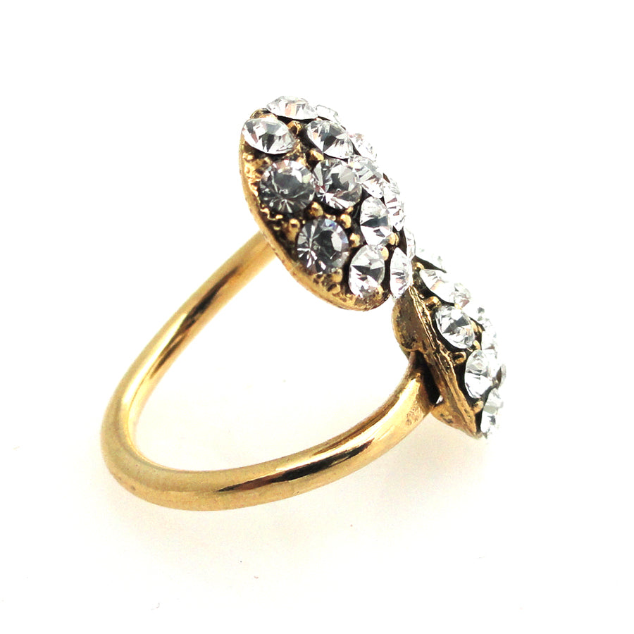 Gold rhinestone circular ring by Jenny Dayco side view