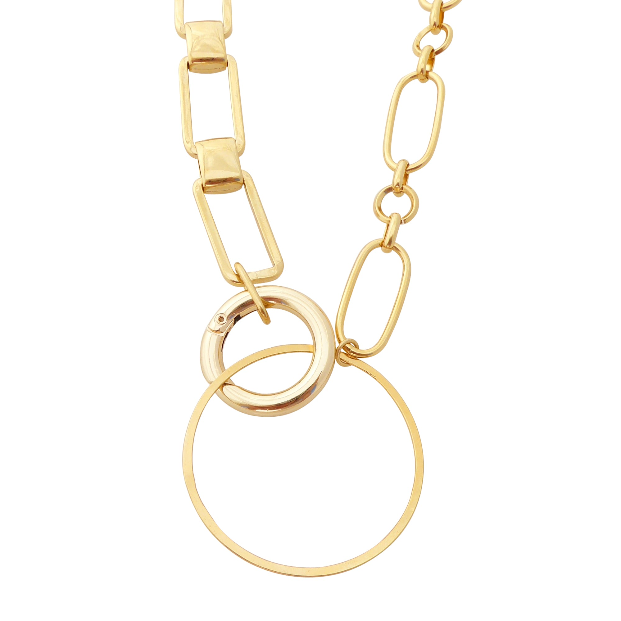 Gold geometric link necklace