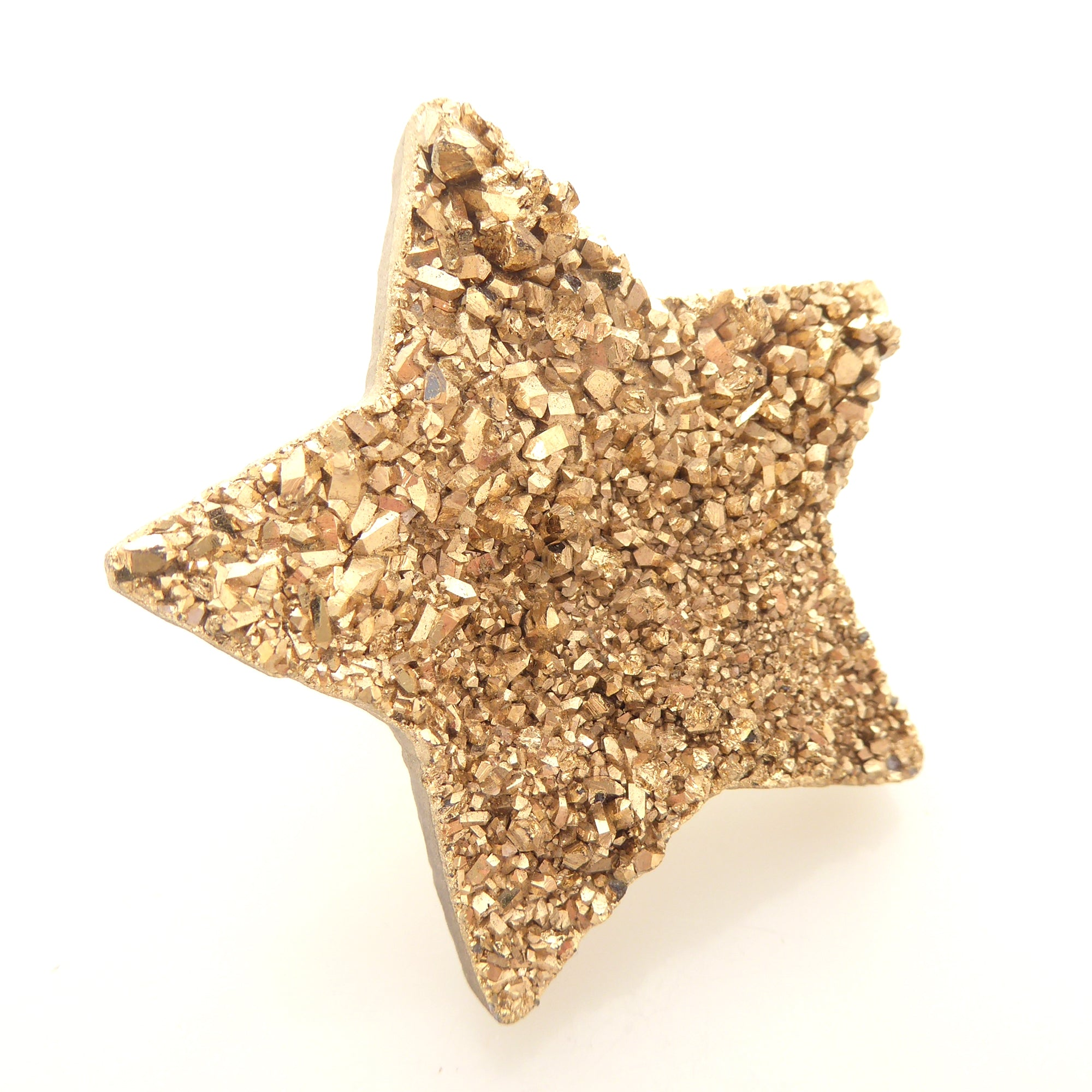 Gold druzy star ring