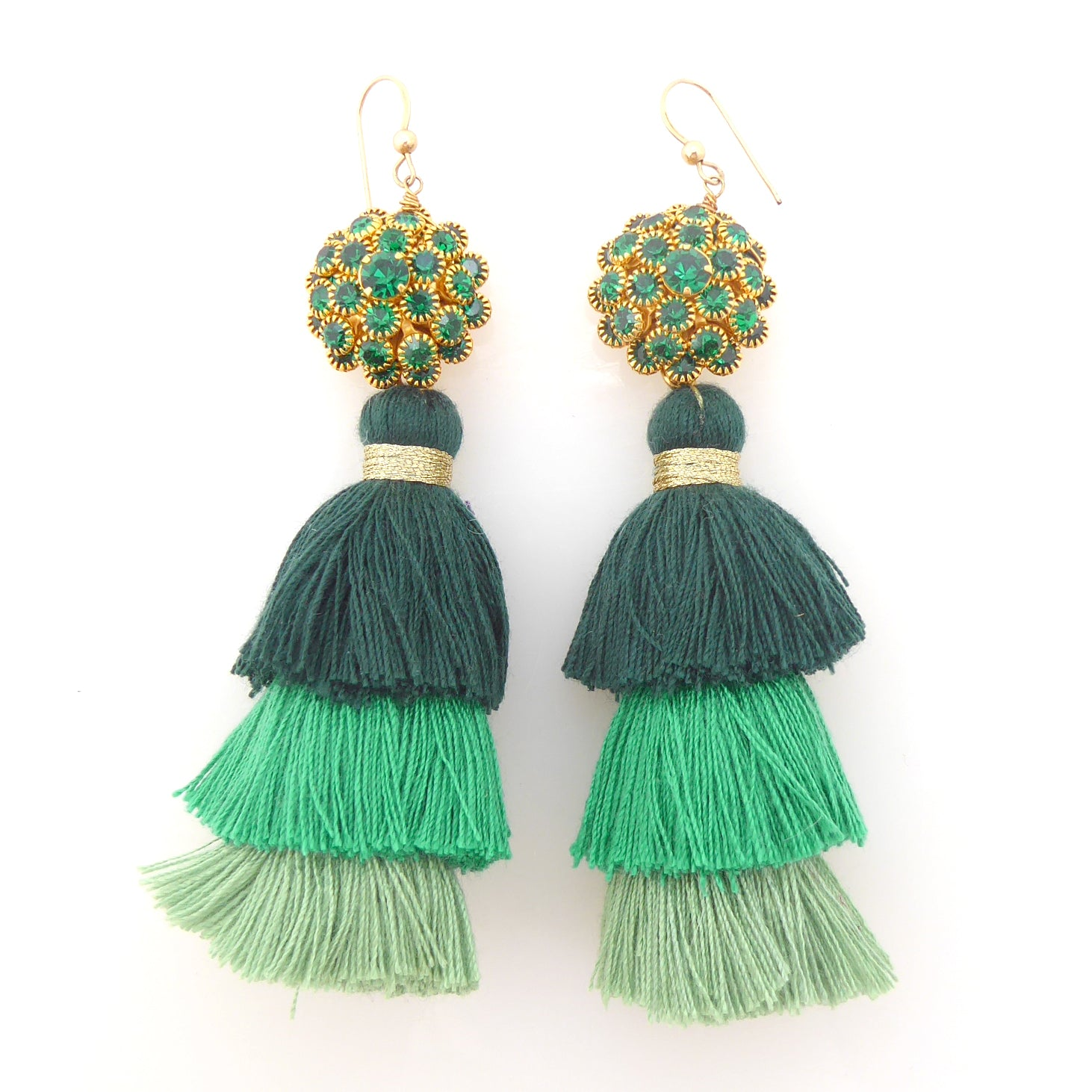 Green rhinestone tassel earrings by Jenny Dayco 1