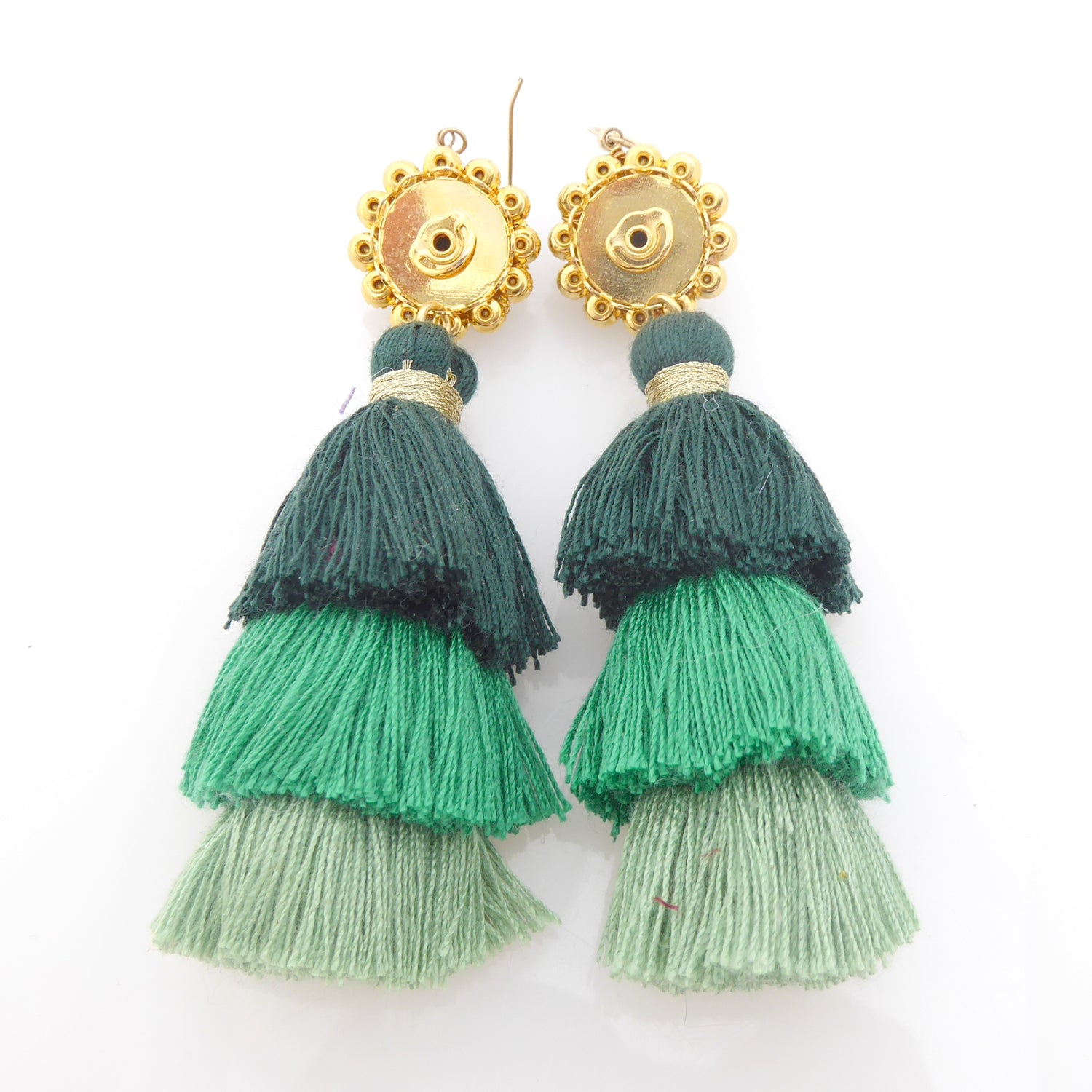 Green rhinestone tassel earrings