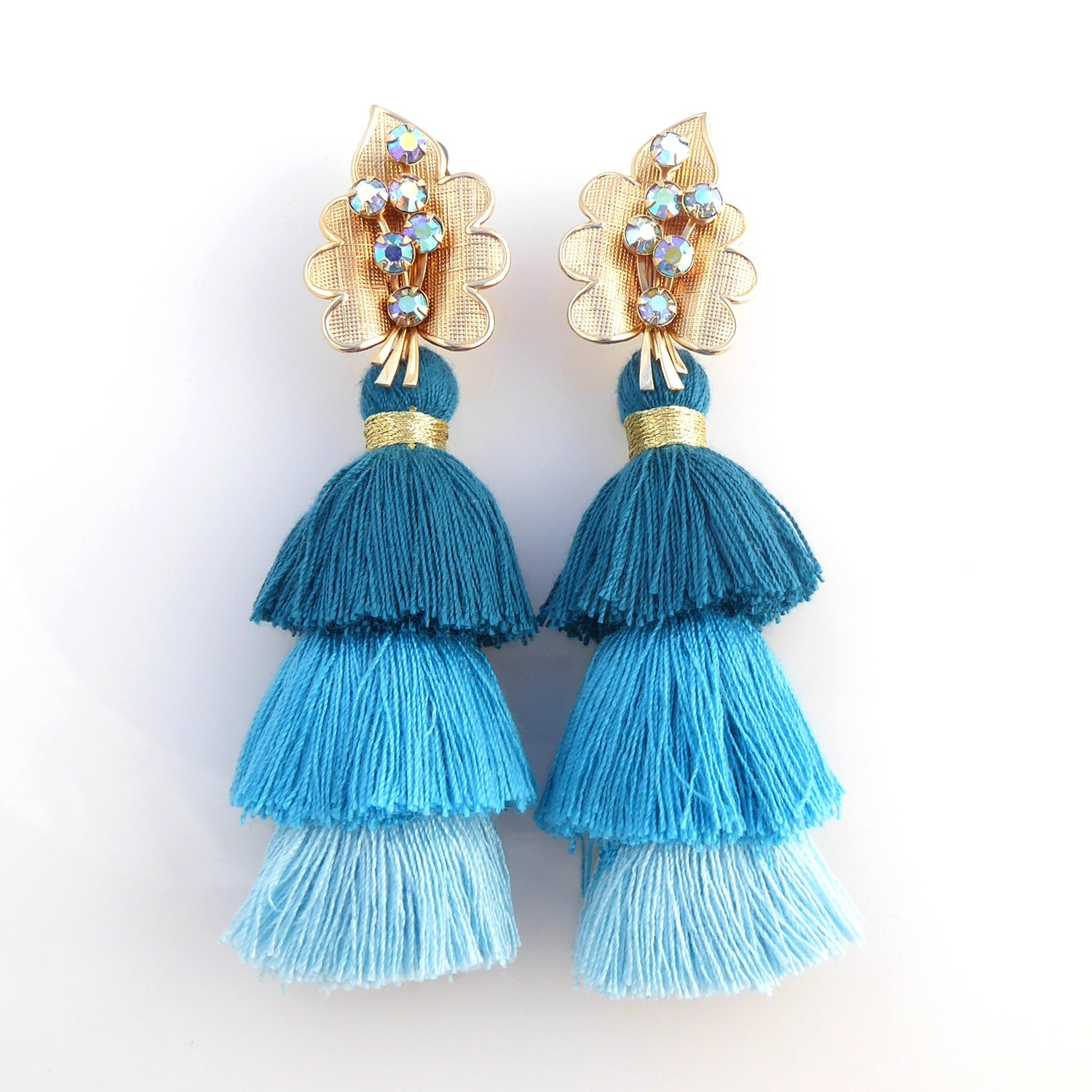 Iridescent leaf and teal blue tassel earrings by Jenny Dayco 1