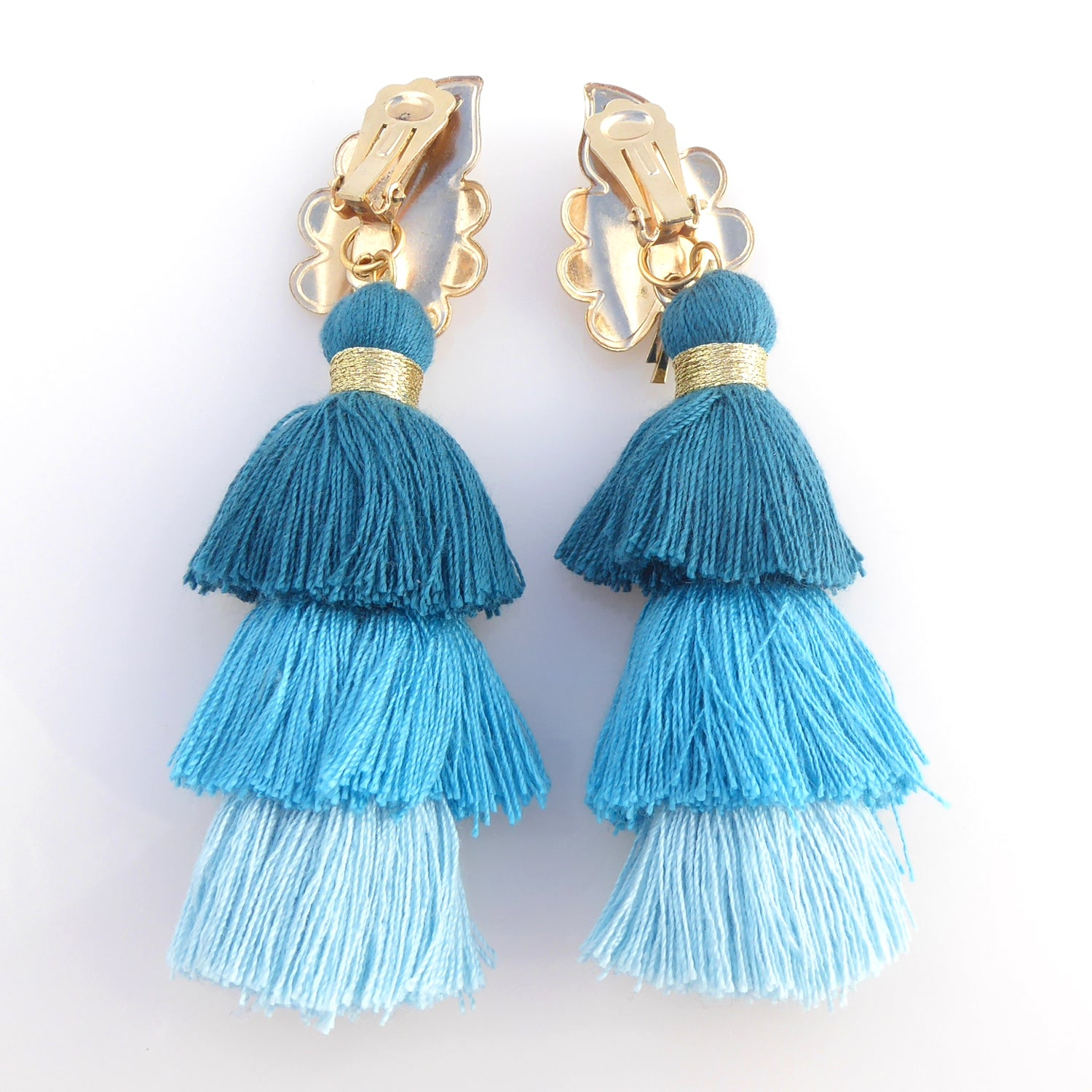 Iridescent leaf tassel earrings
