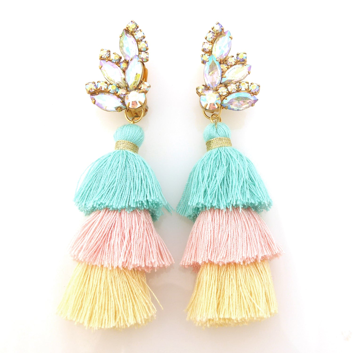 Iridescent rhinestone tassel earrings by Jenny Dayco 1
