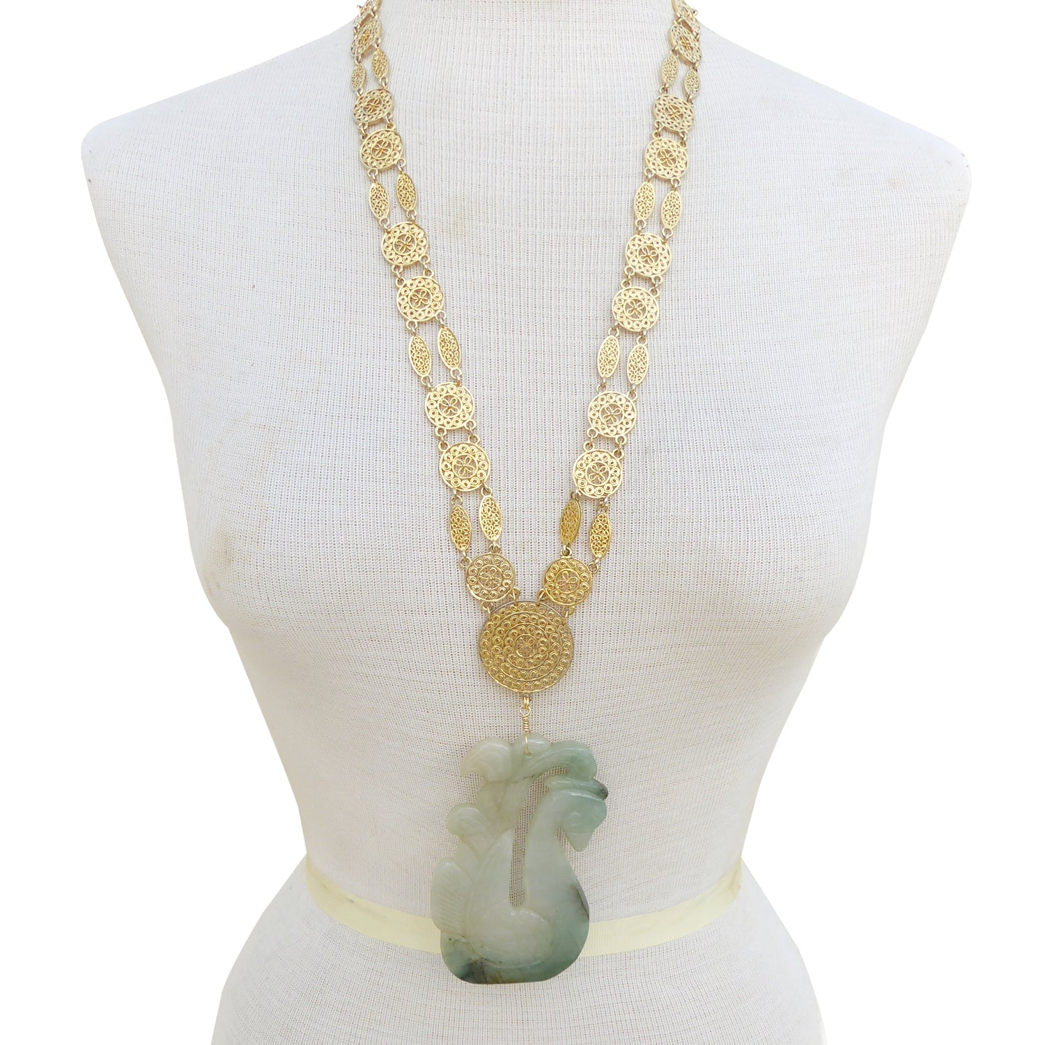 Jade swan necklace