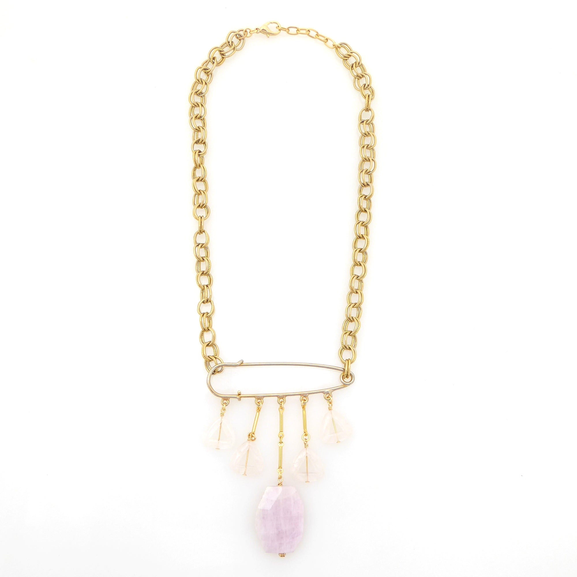Kunzite safety pin necklace