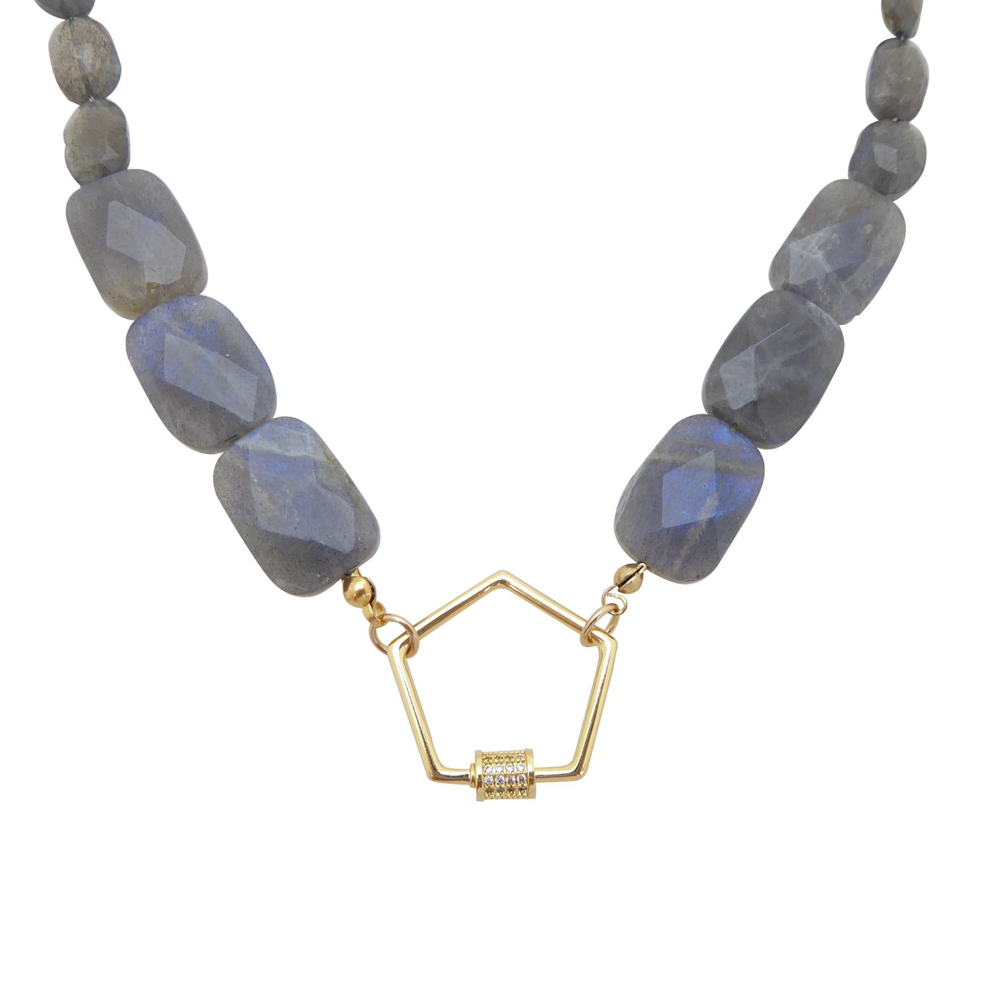 Labradorite pentagon necklace