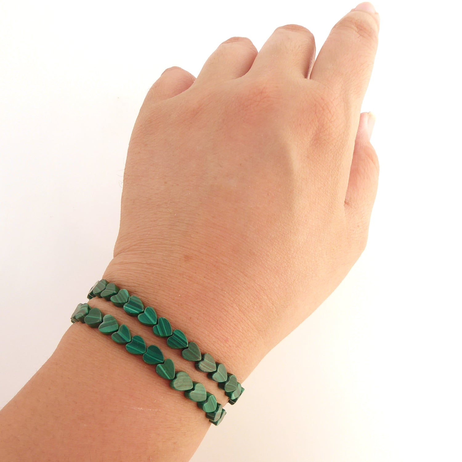 Malachite heart bracelet set
