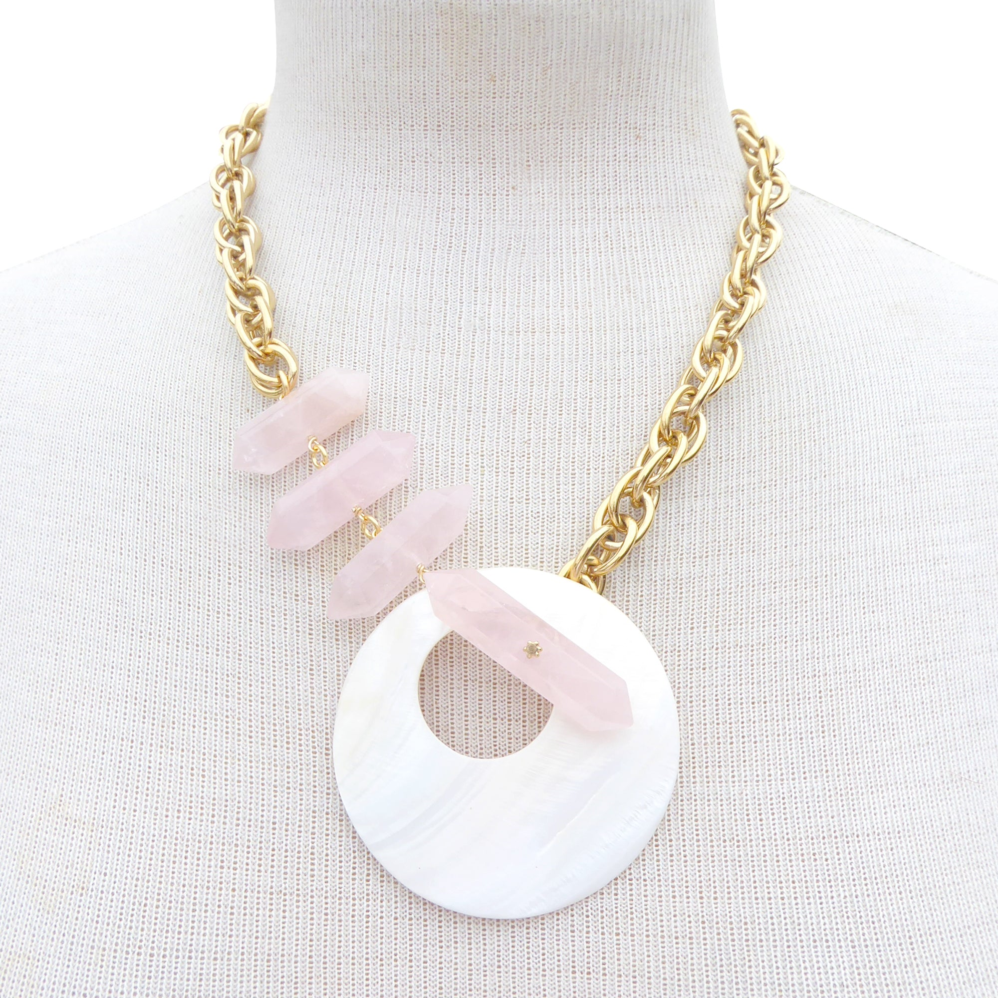 Marna rose quartz and shell necklace