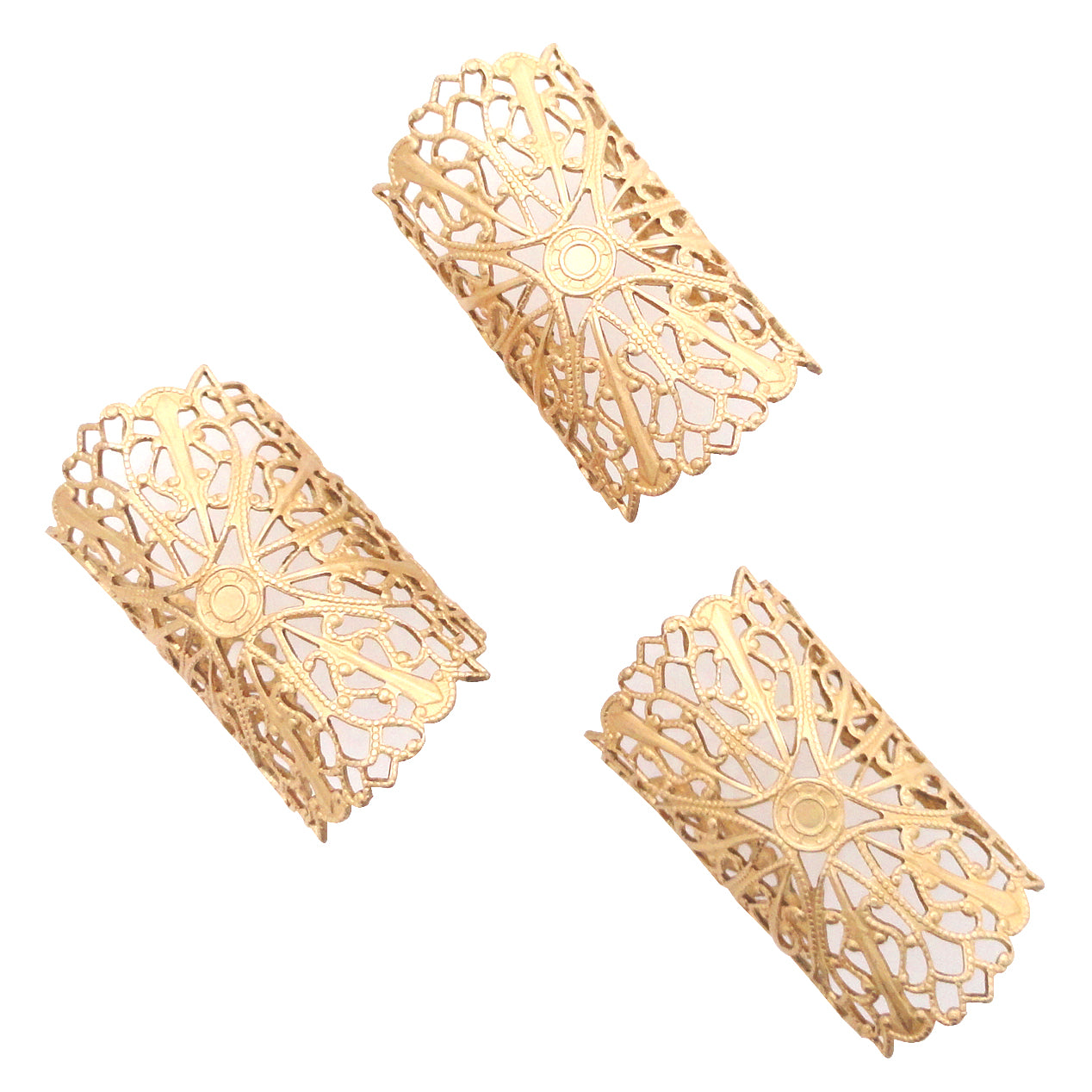 Matte gold filigree ring set by Jenny Dayco top view