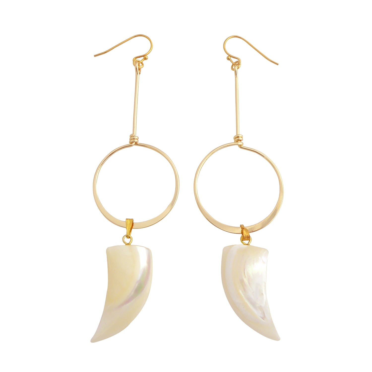 Meri gold and mother of pearl shell earrings by Jenny Dayco 1