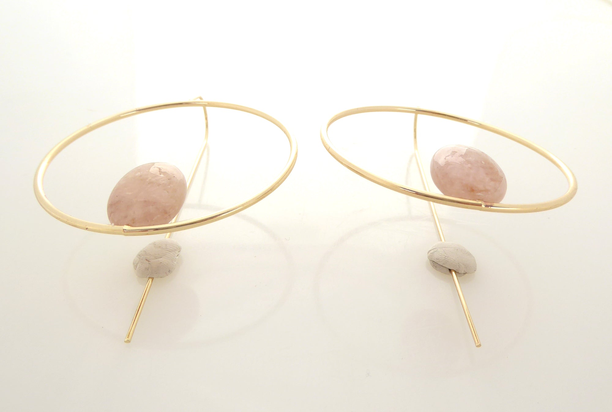 Morganite circle earrings