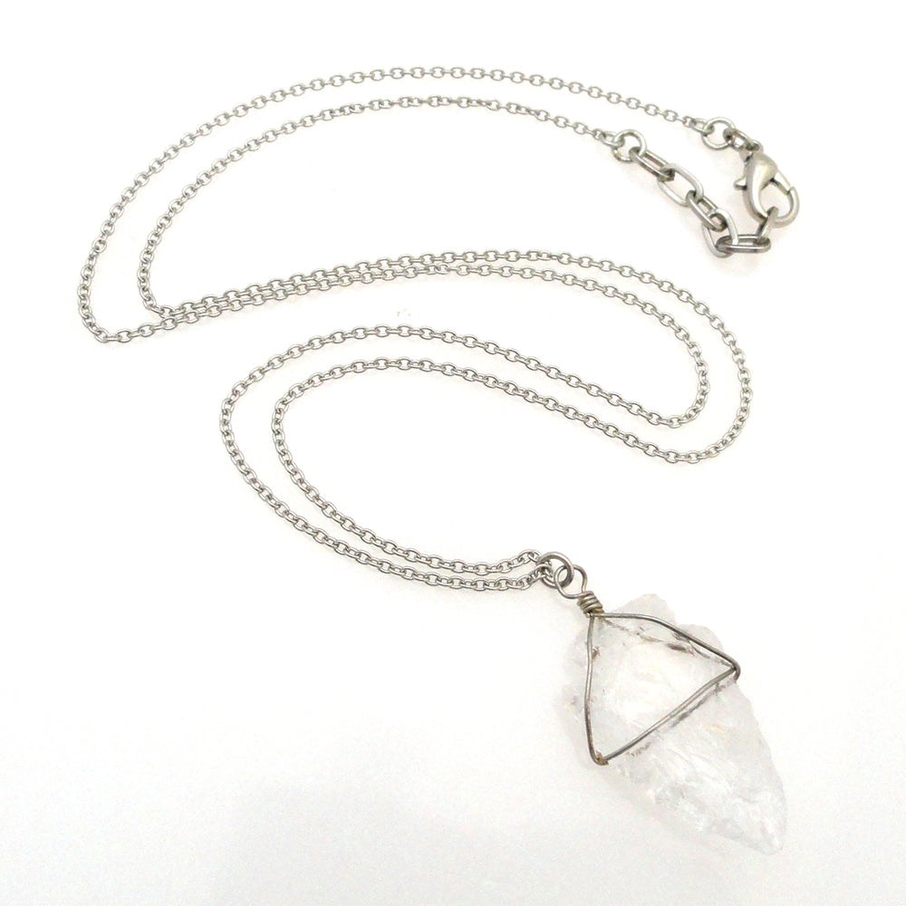 Quartz arrowhead necklace by Jenny Dayco full view