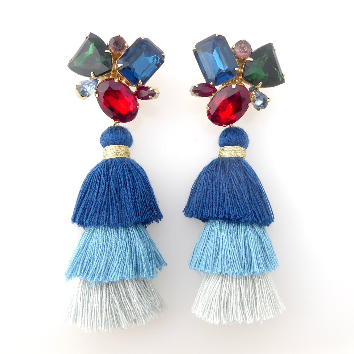 Rhinestone cluster tassel earrings by Jenny Dayco 1