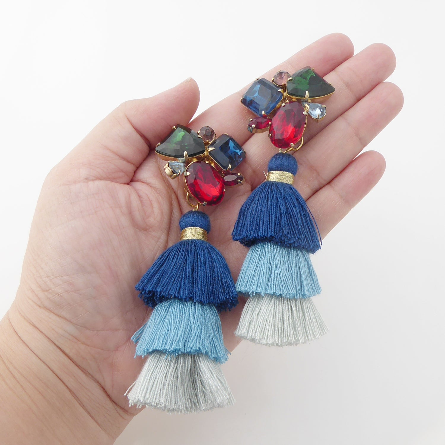 Rhinestone cluster tassel earrings