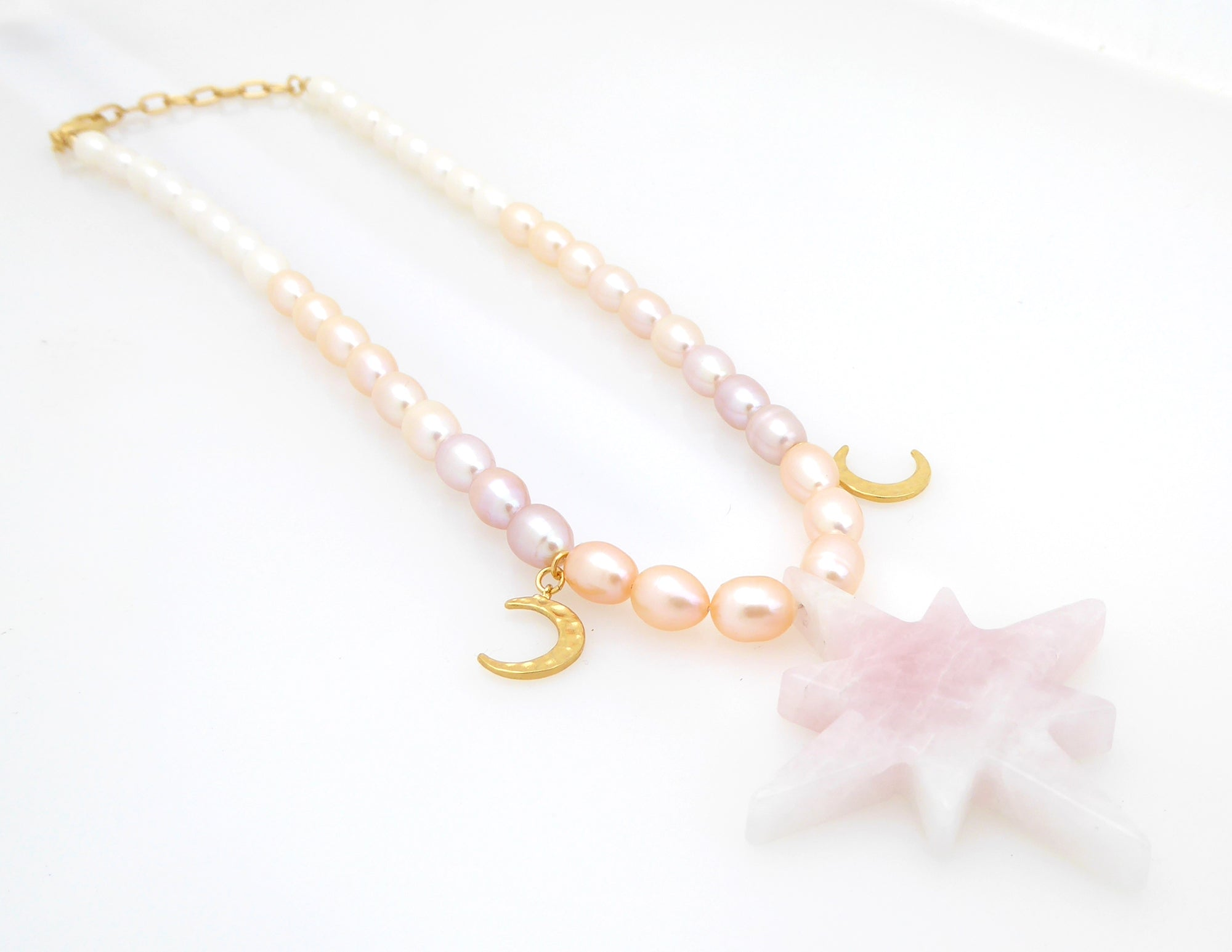 Rose quartz star necklace