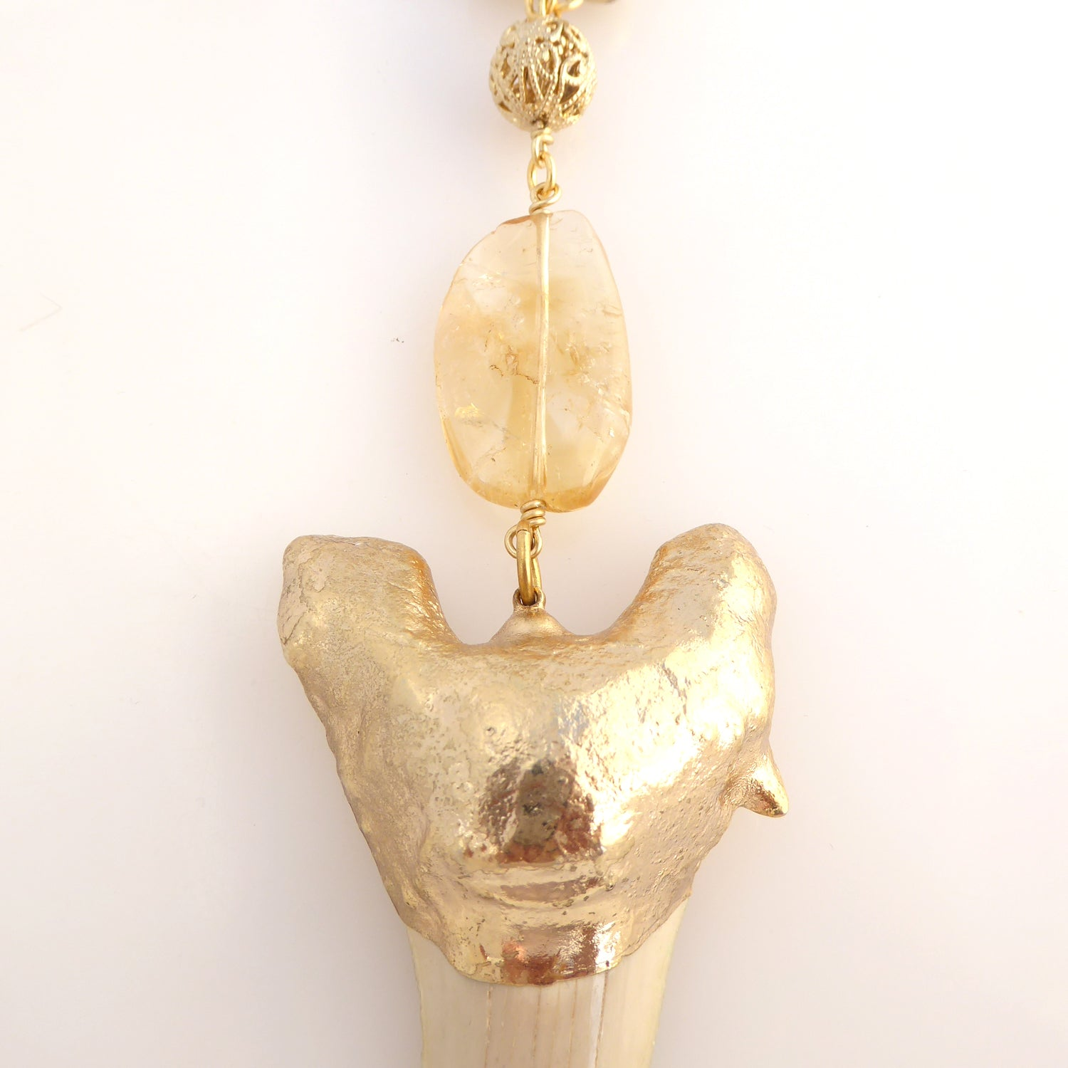 Shark tooth and citrine necklace