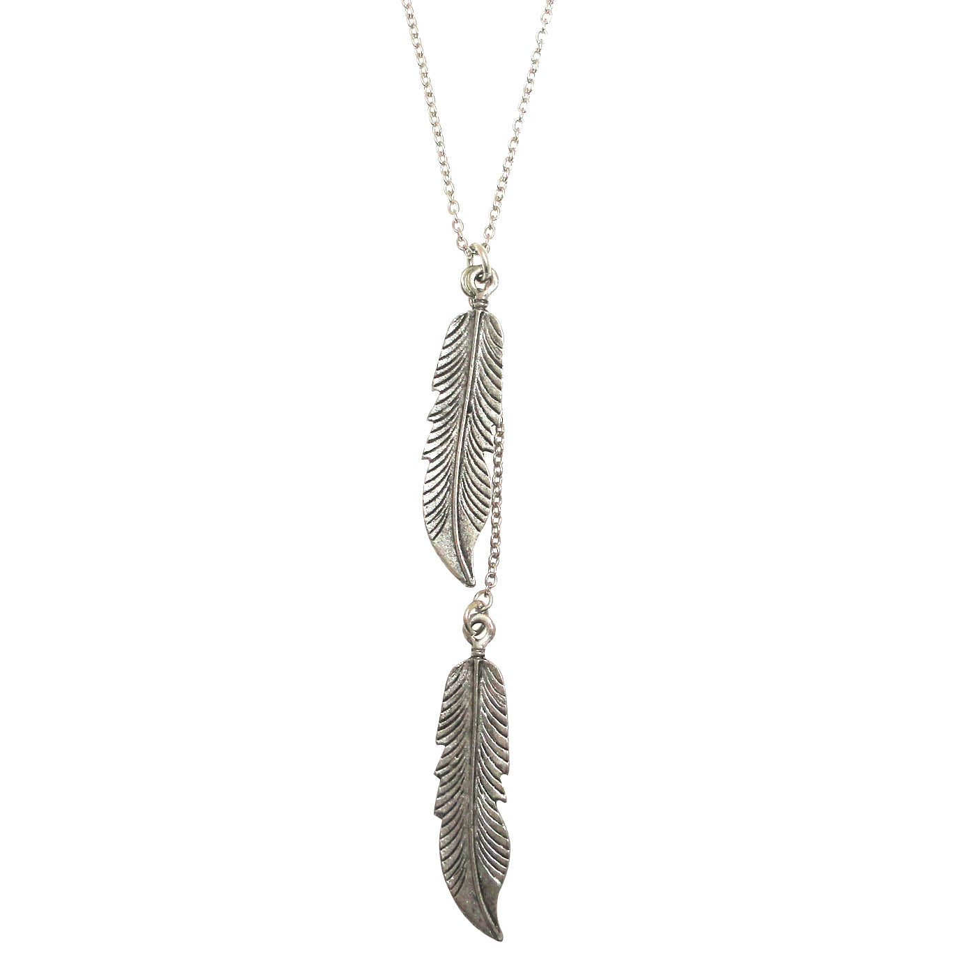 Silver feather necklace by Jenny Dayco