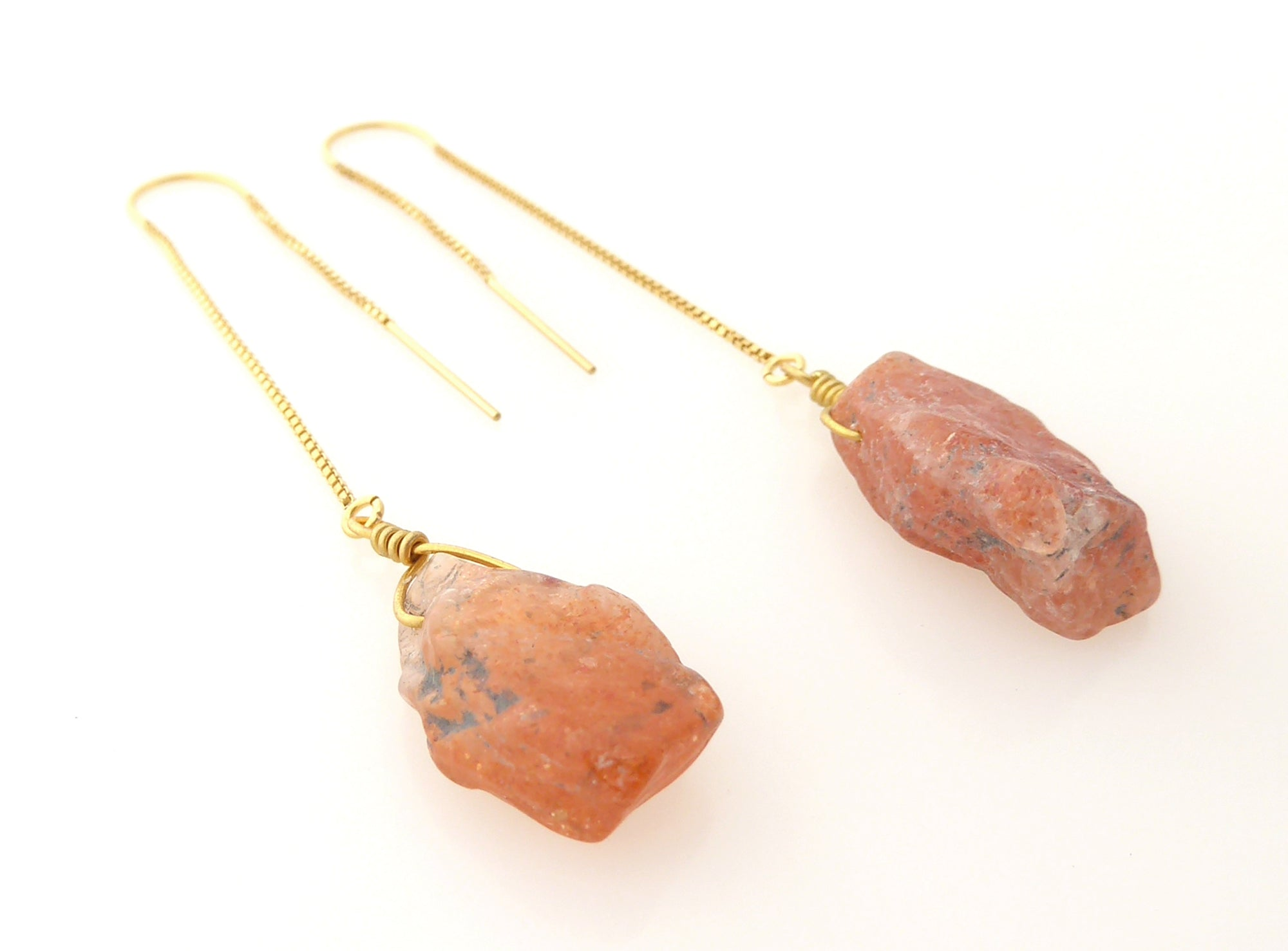 Sunstone threader earrings