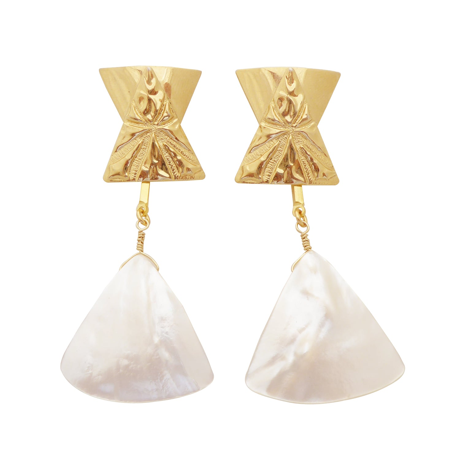 Triantan gold and white mother of pearl triangle earrings by Jenny Dayco 1