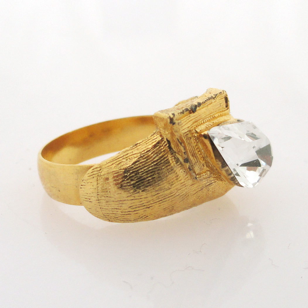 Vintage gold angle and crystal teardrop ring by Jenny Dayco alternate view