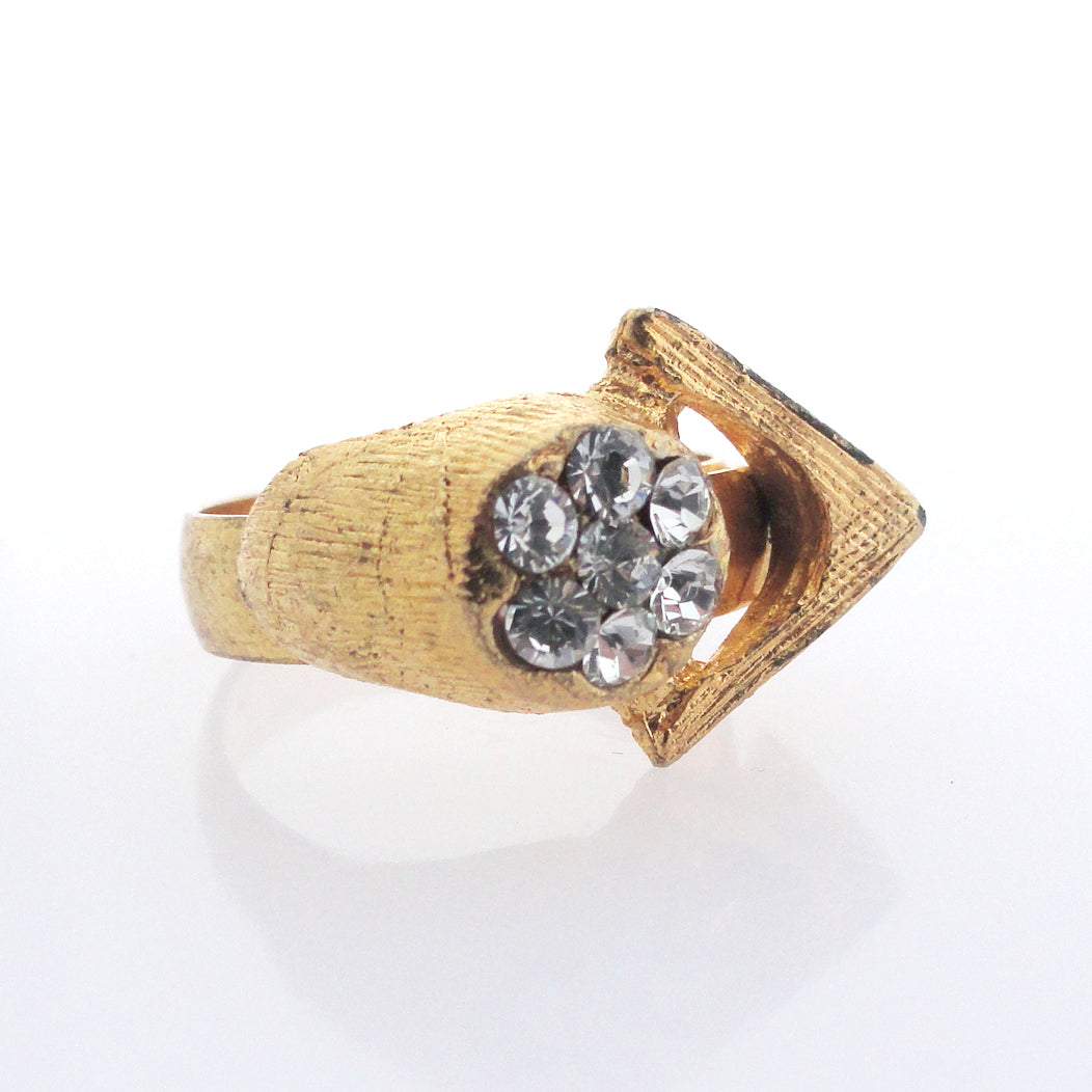 Vintage gold triangle and rhinestone ring by Jenny Dayco alternate view