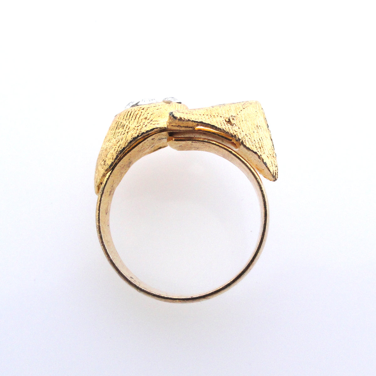Vintage gold triangle and rhinestone ring by Jenny Dayco side view