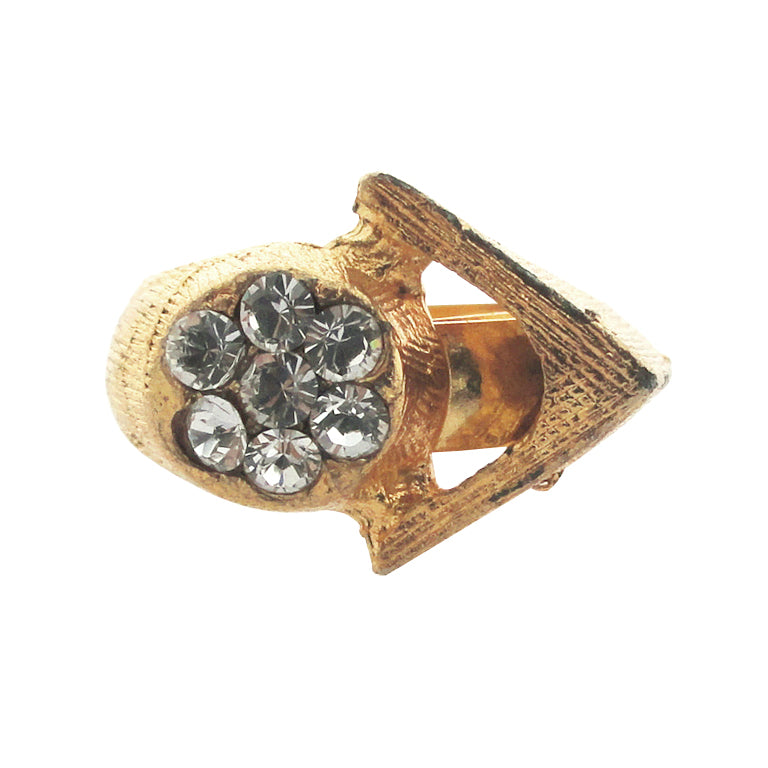 Vintage gold triangle and rhinestone ring by Jenny Dayco