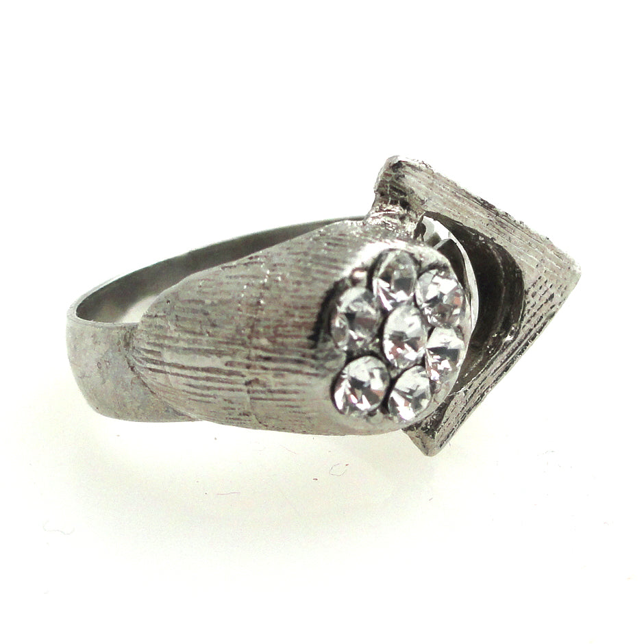 Vintage silver triangle and rhinestone ring by Jenny Dayco side view