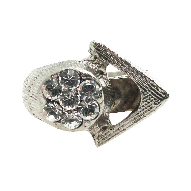 Vintage silver triangle and rhinestone ring by Jenny Dayco