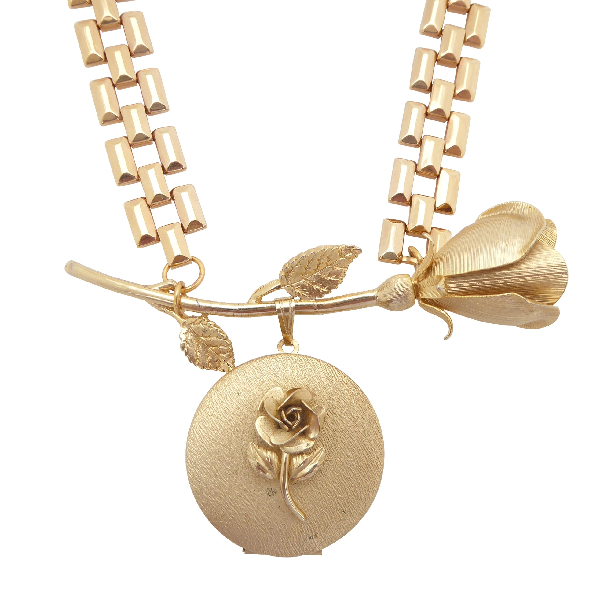 Vintage gold rose locket necklace